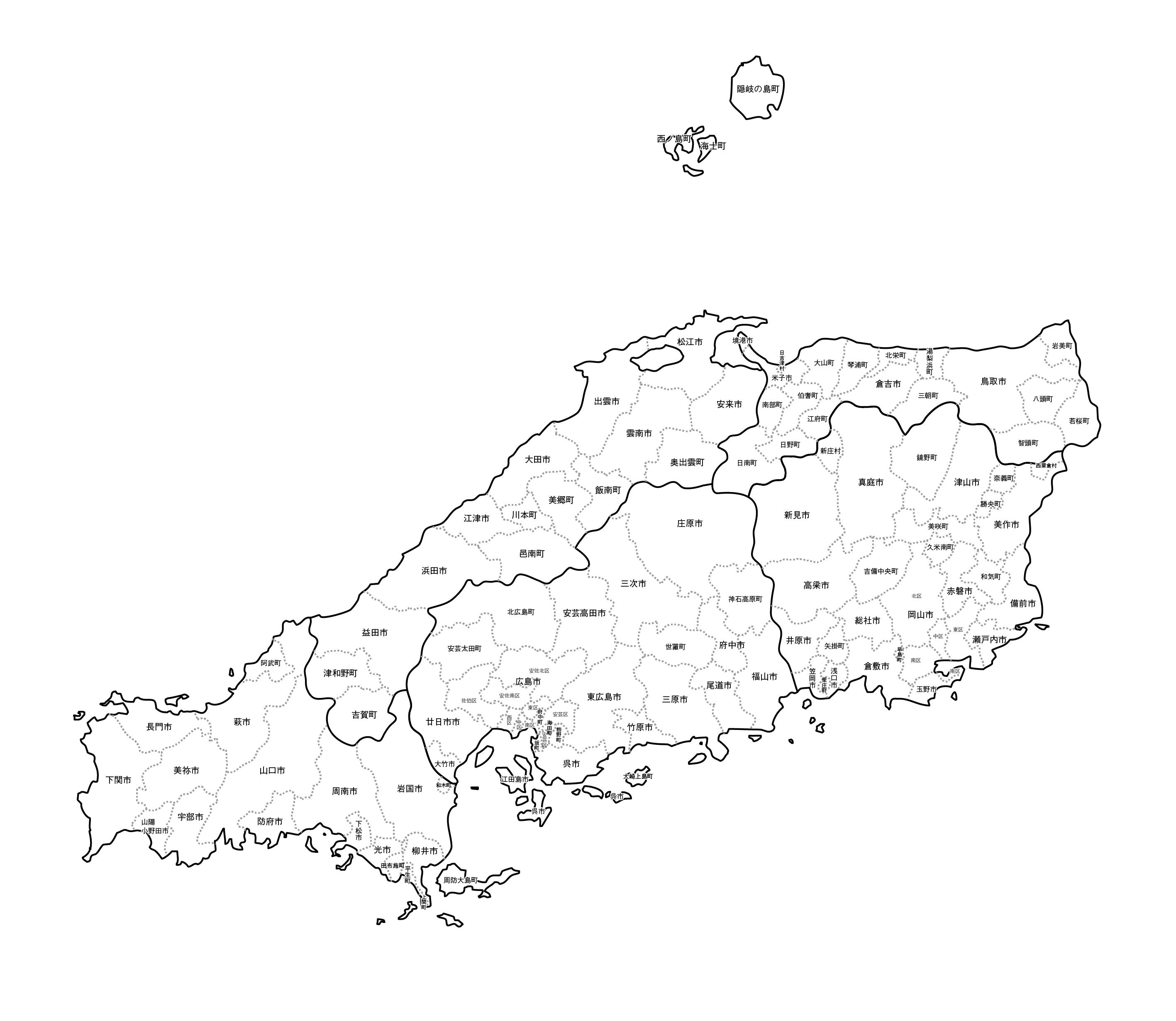 [白地図]中国・市区町村名あり