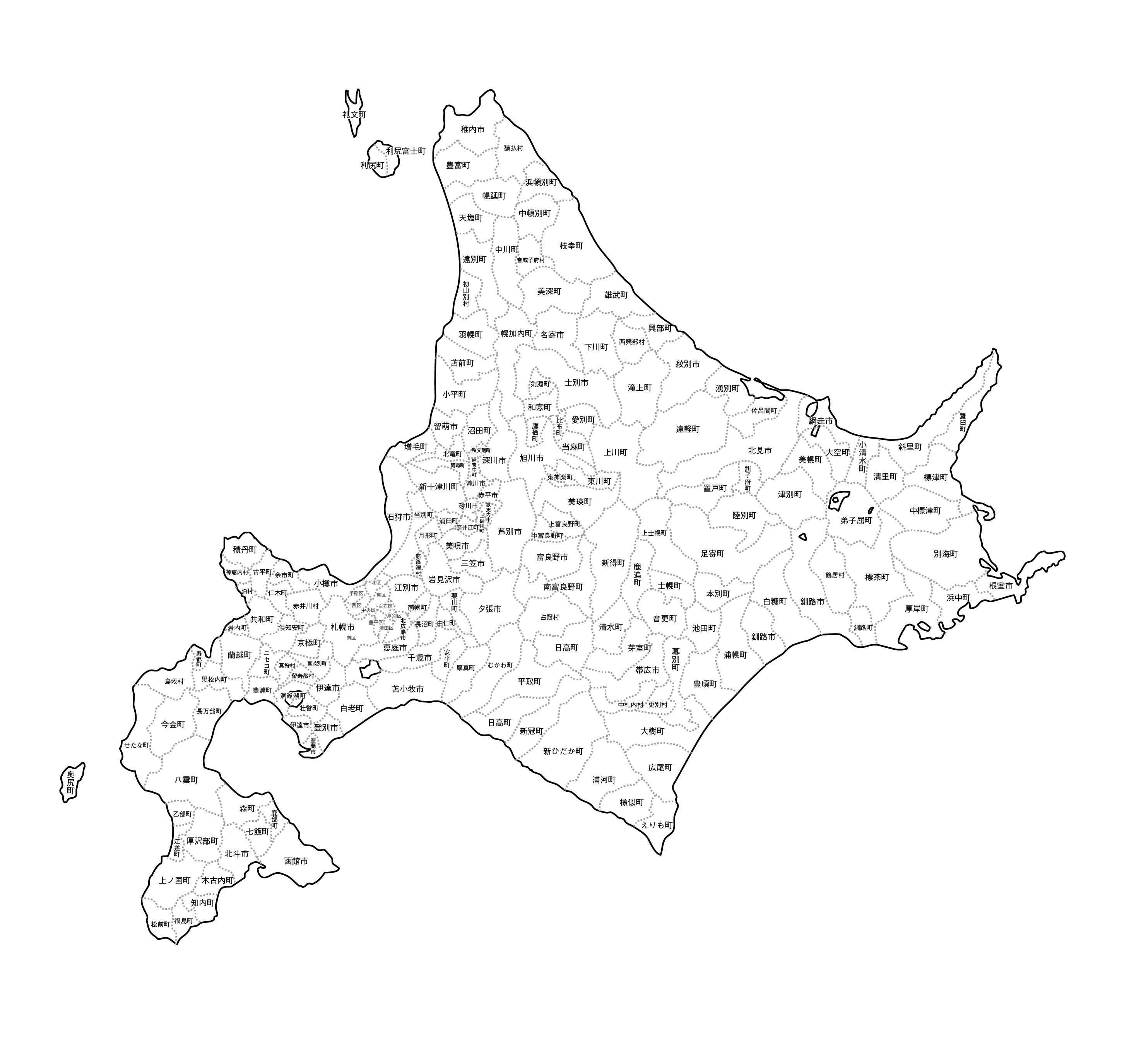 [白地図]北海道・市区町村名あり