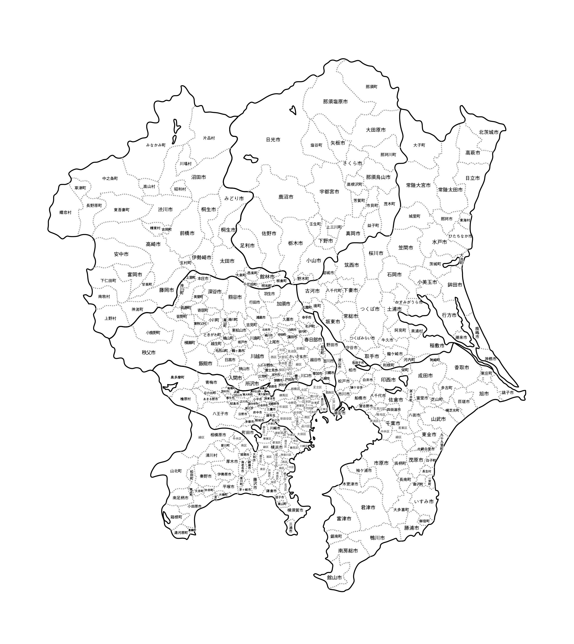[白地図]関東・市区町村名あり