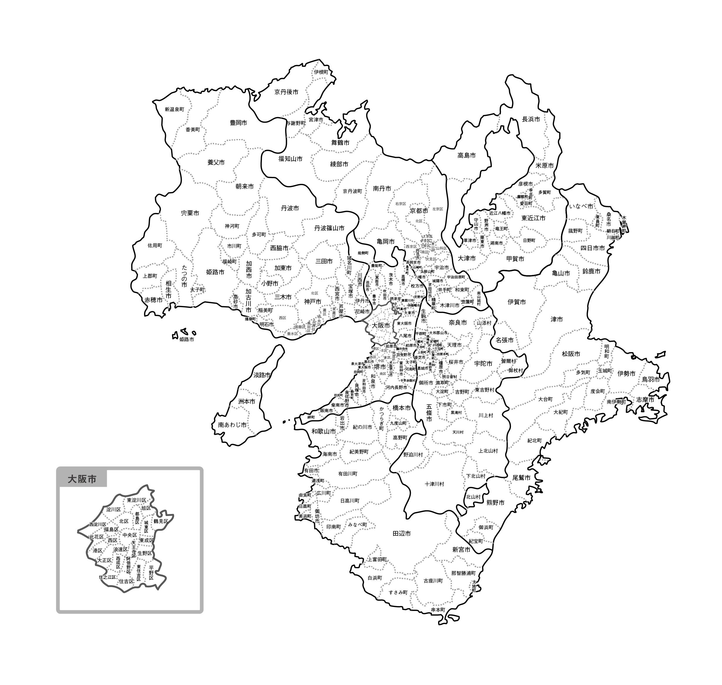 [白地図]近畿・市区町村名あり