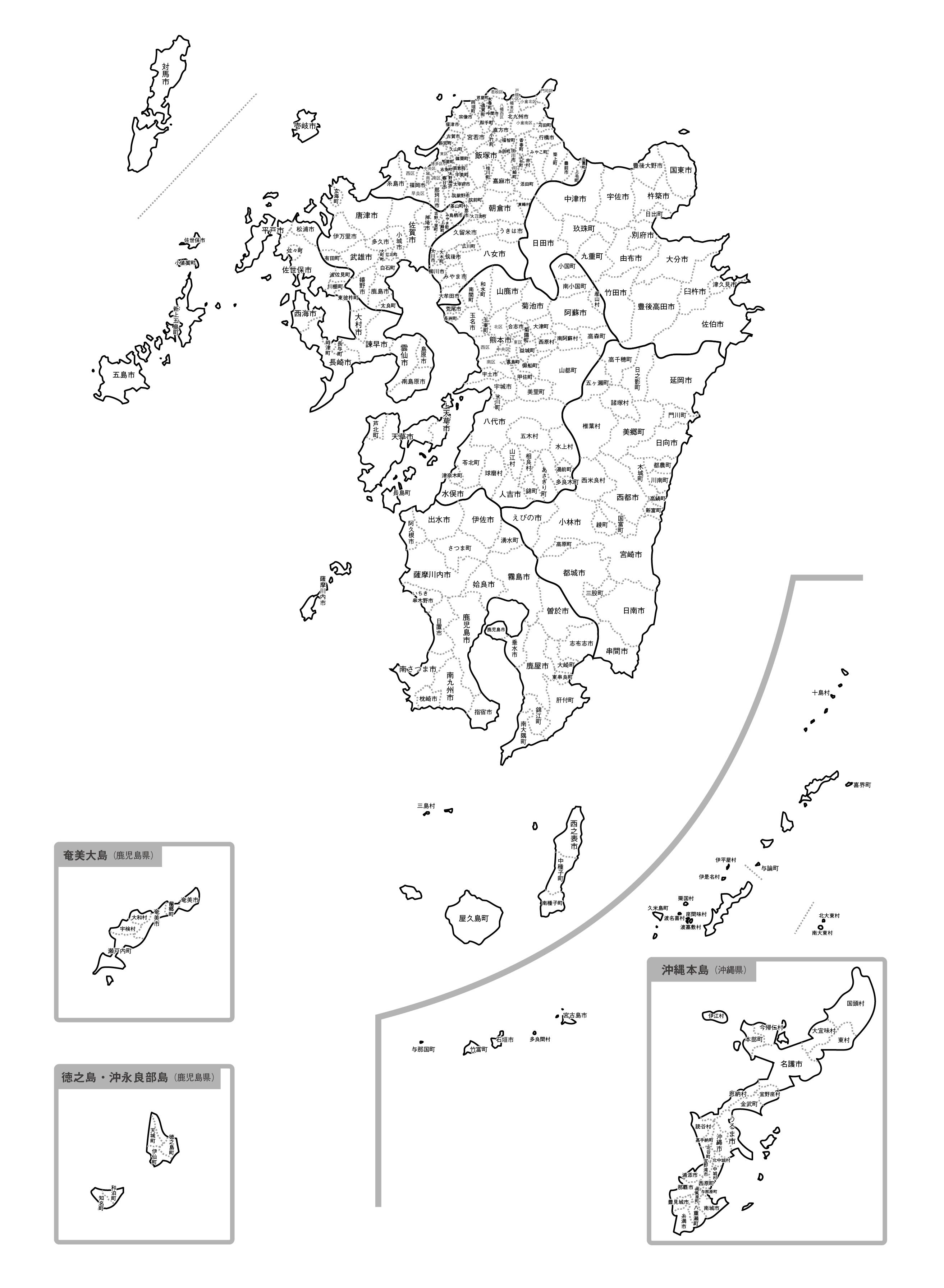 [白地図]九州沖縄・市区町村名あり