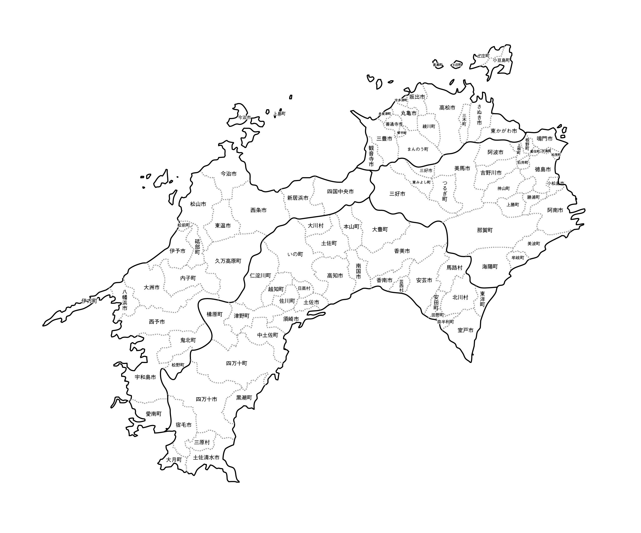 [白地図]四国・市区町村名あり