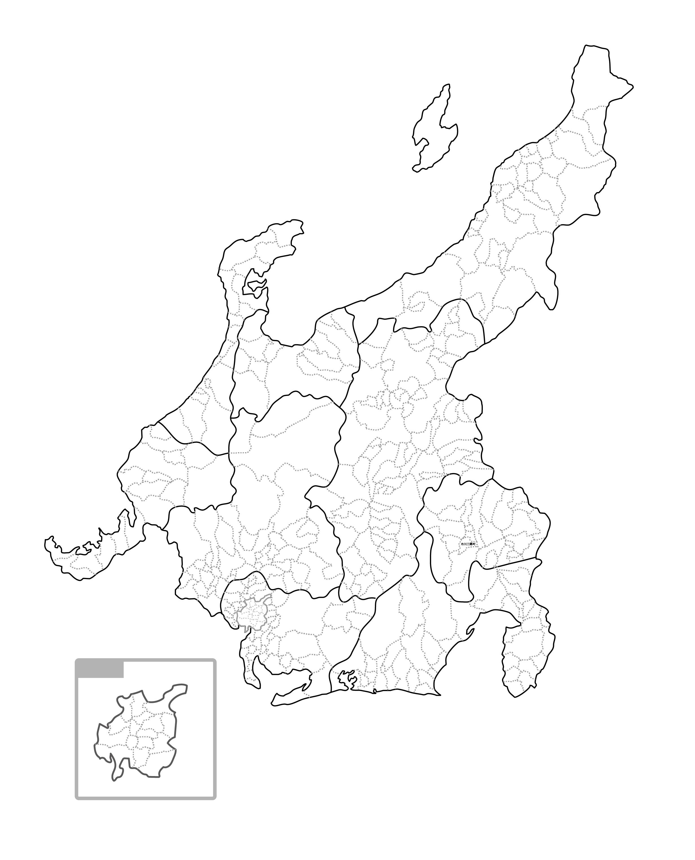 [白地図]中部・市区町村ラインあり