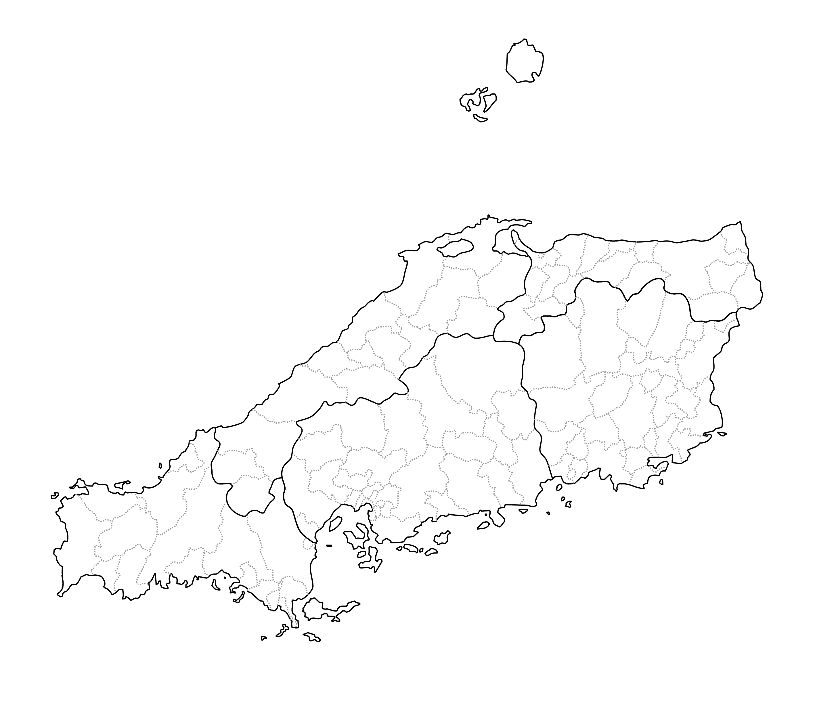 [白地図]中国・市区町村ラインあり