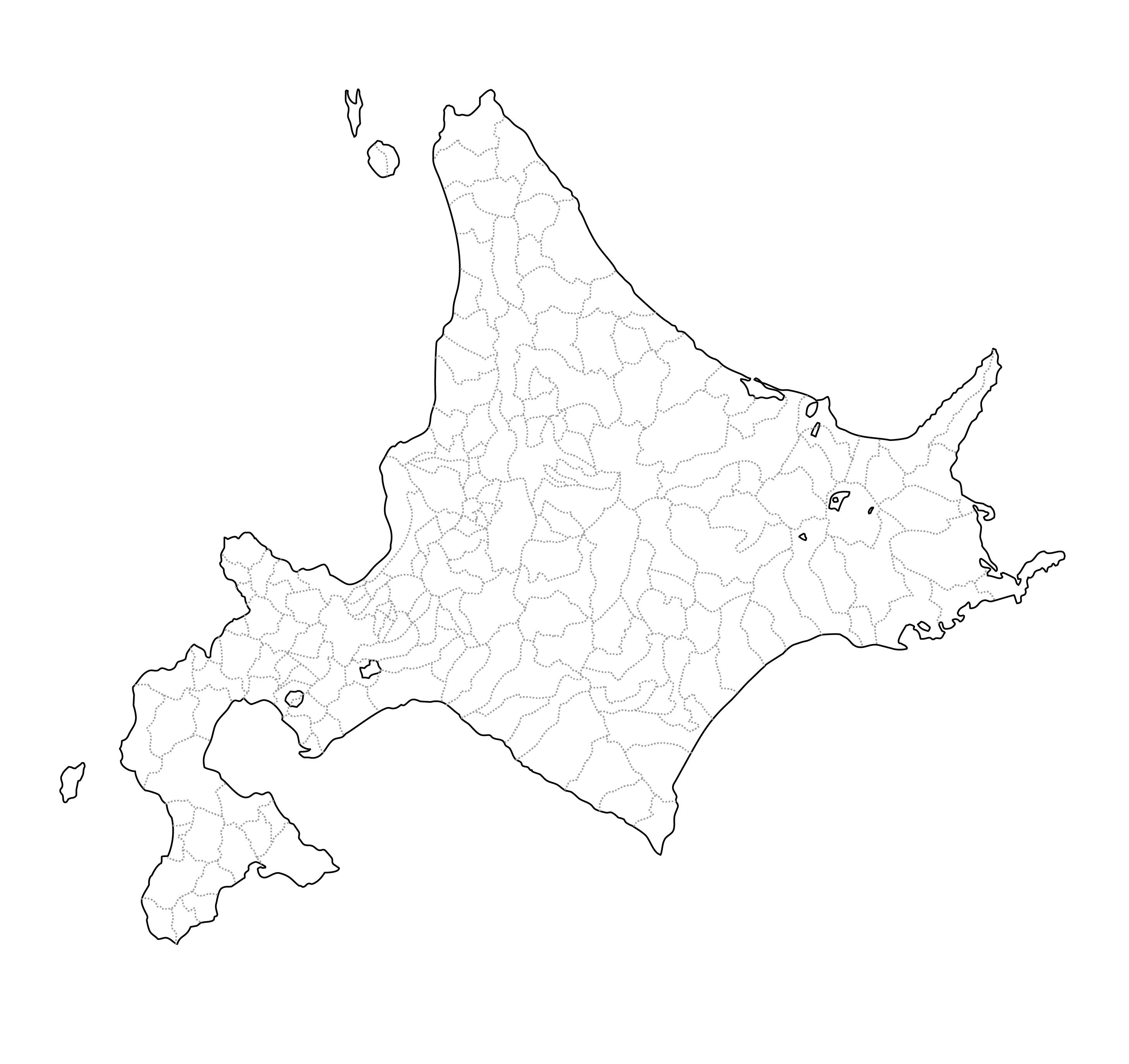 [白地図]北海道・市区町村ラインあり