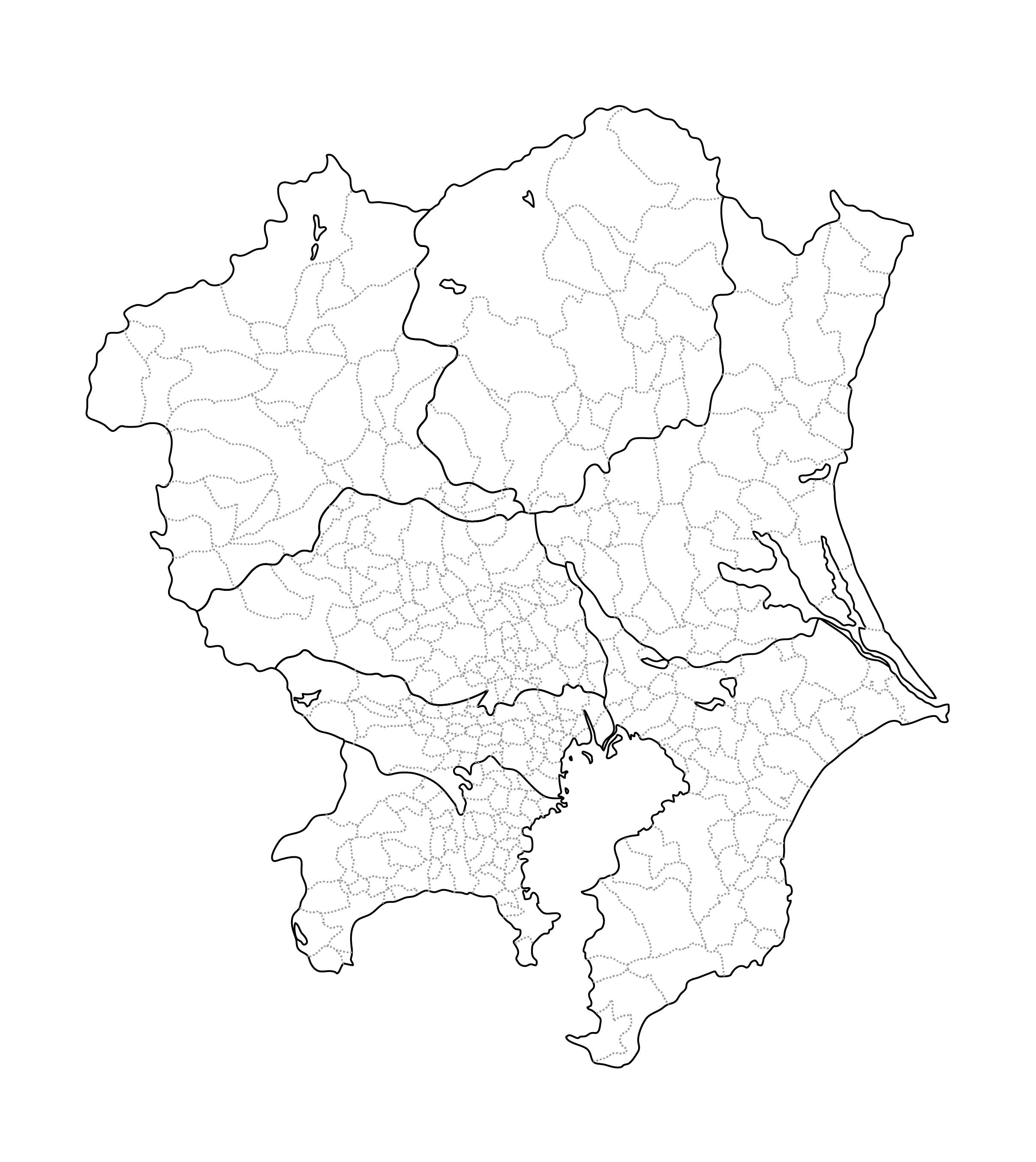 [白地図]関東・市区町村ラインあり