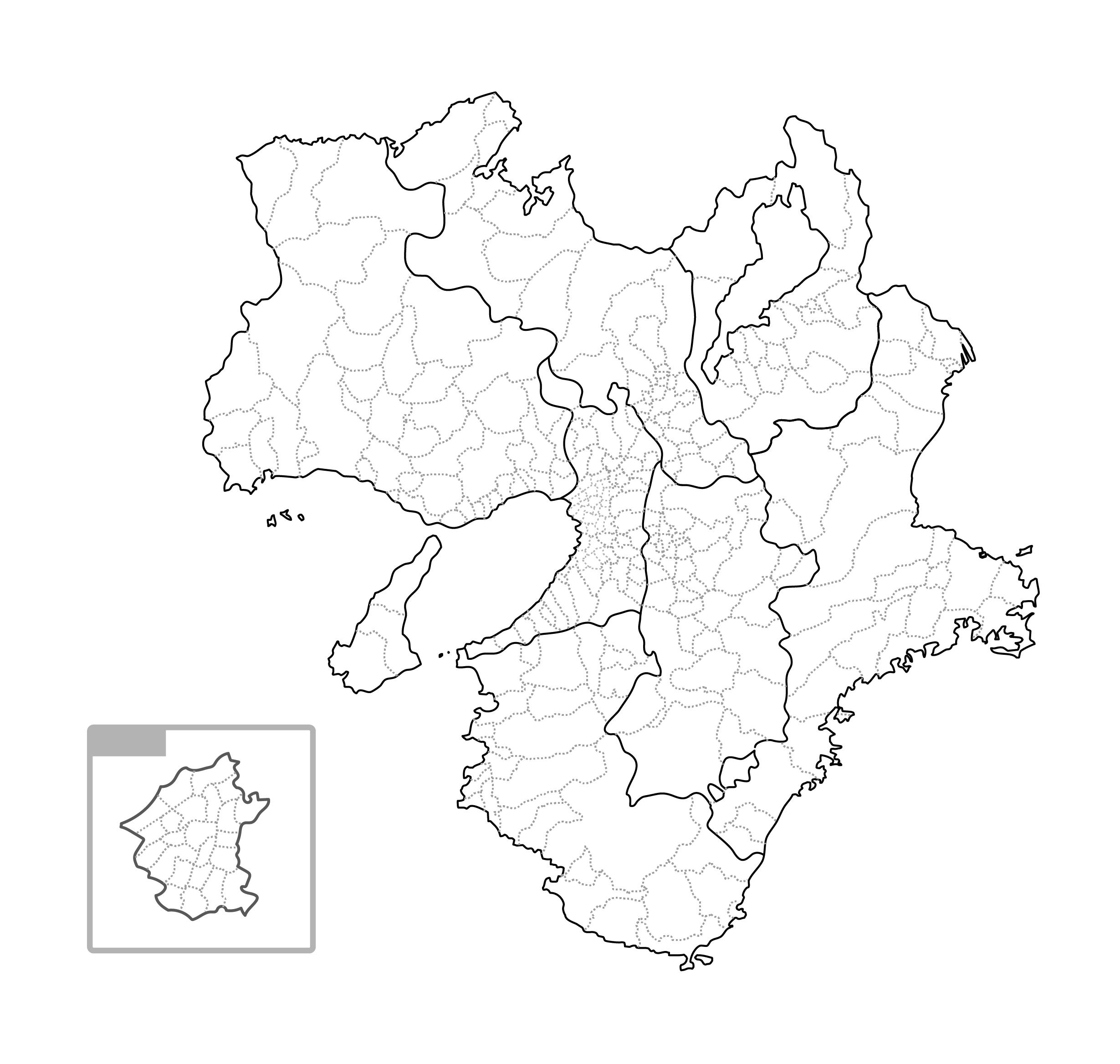 [白地図]近畿・市区町村ラインあり