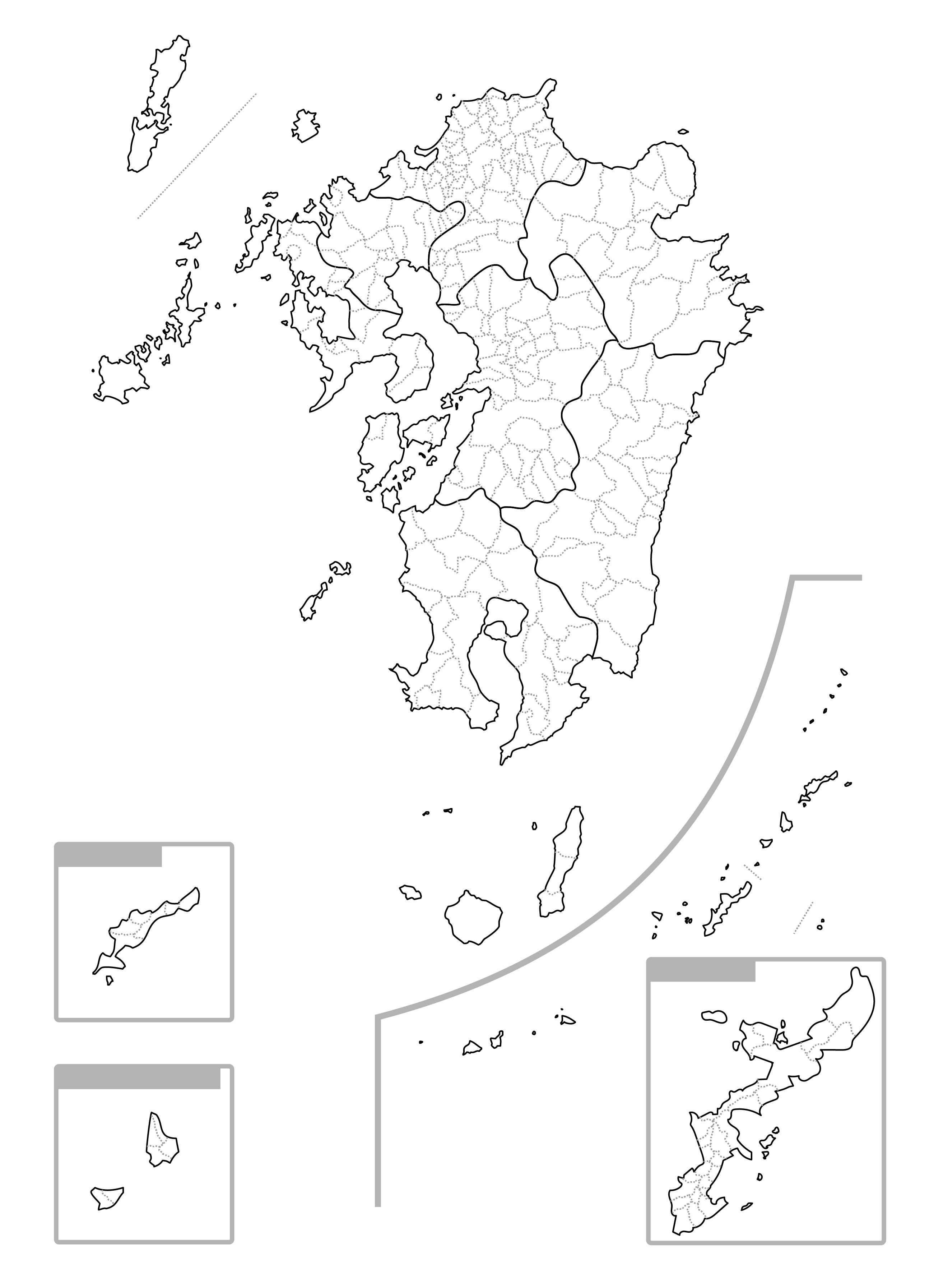 [白地図]九州沖縄・市区町村ラインあり