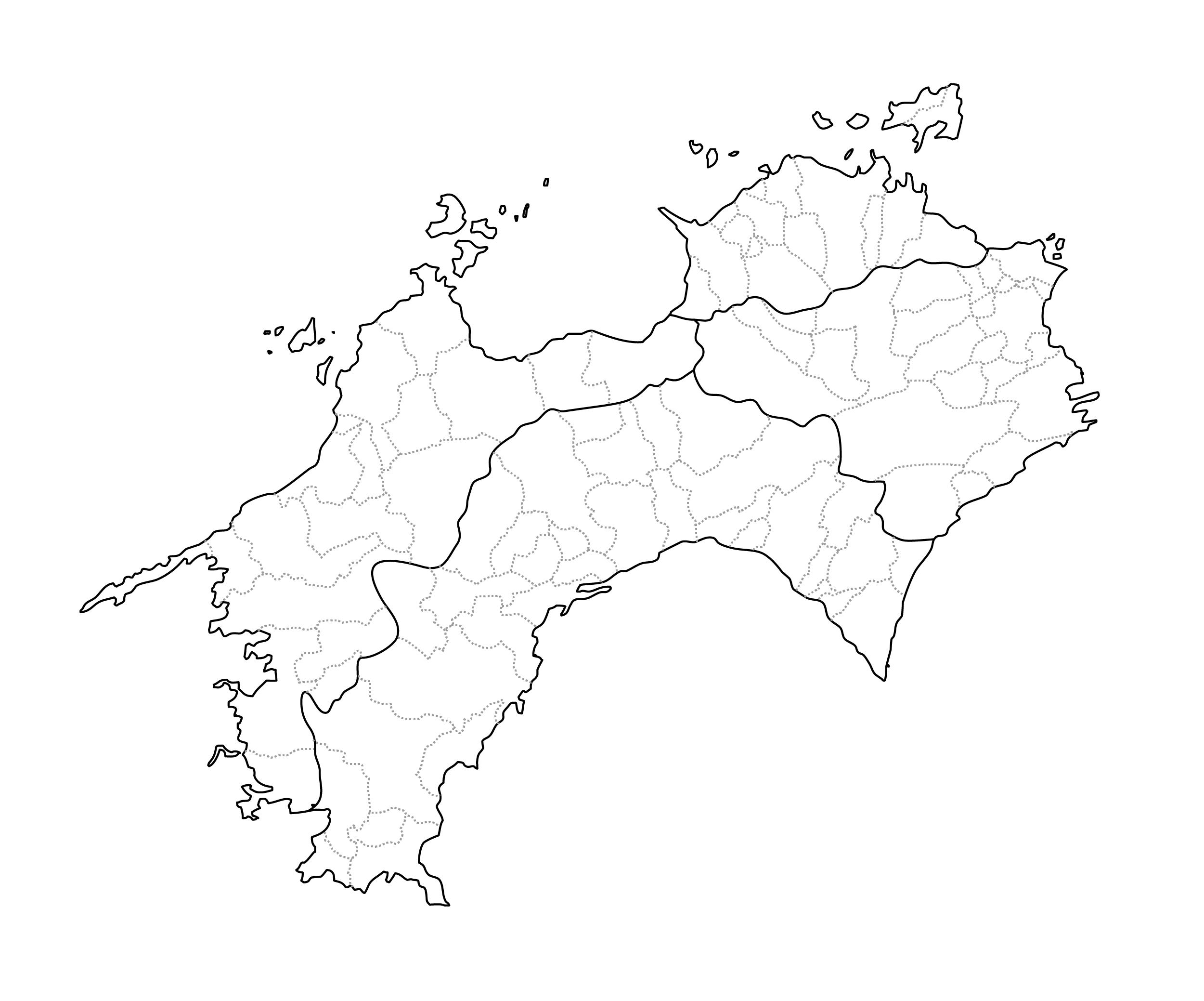[白地図]四国・市区町村ラインあり