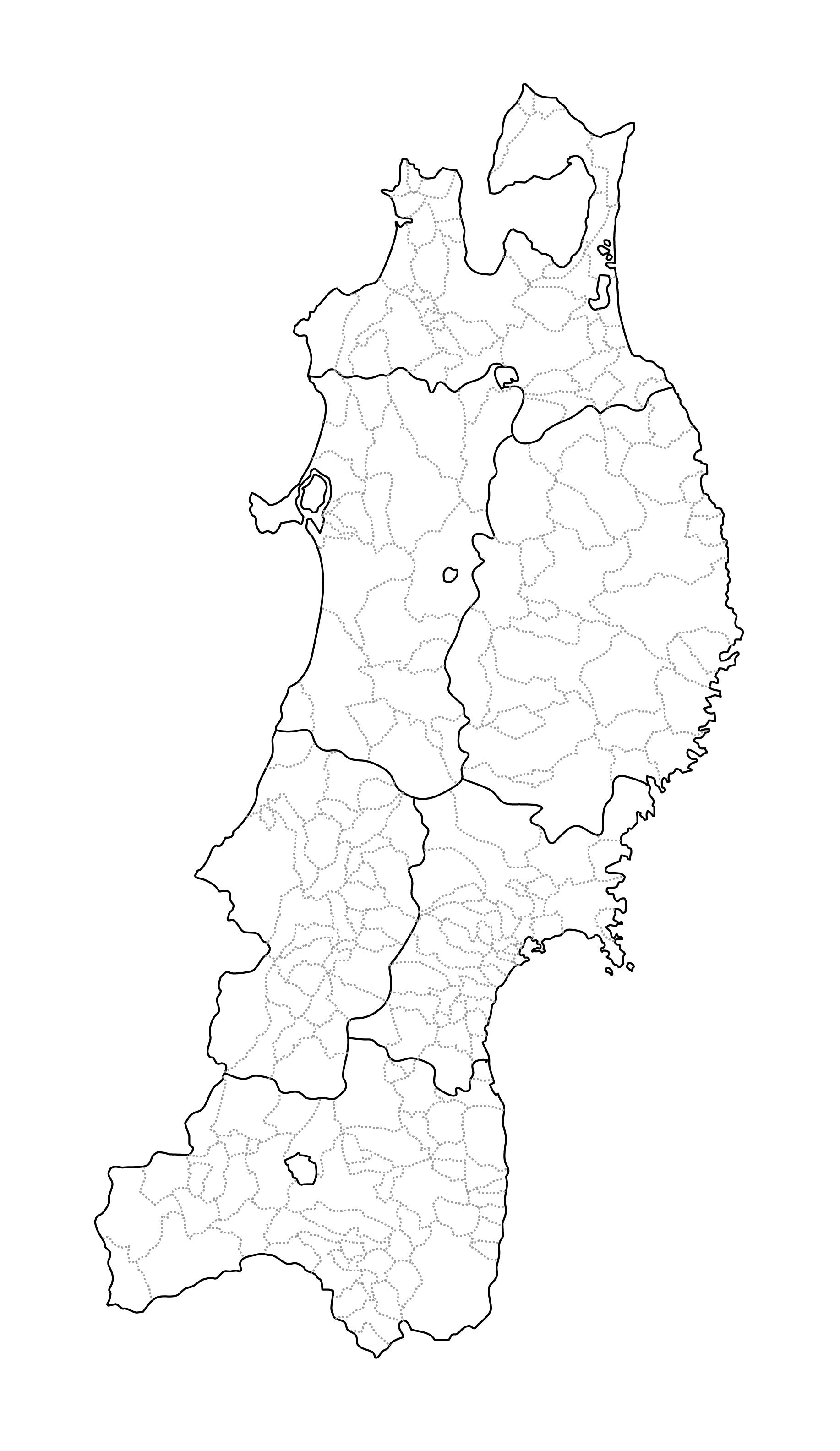[白地図]東北・市区町村ラインあり