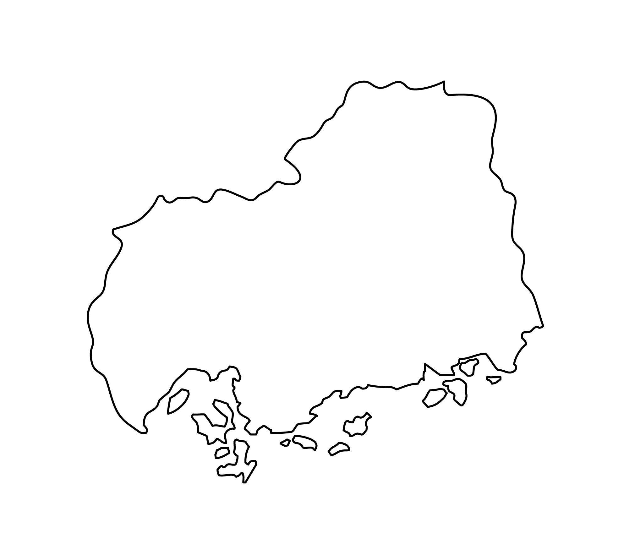 白地図・広島県・無地