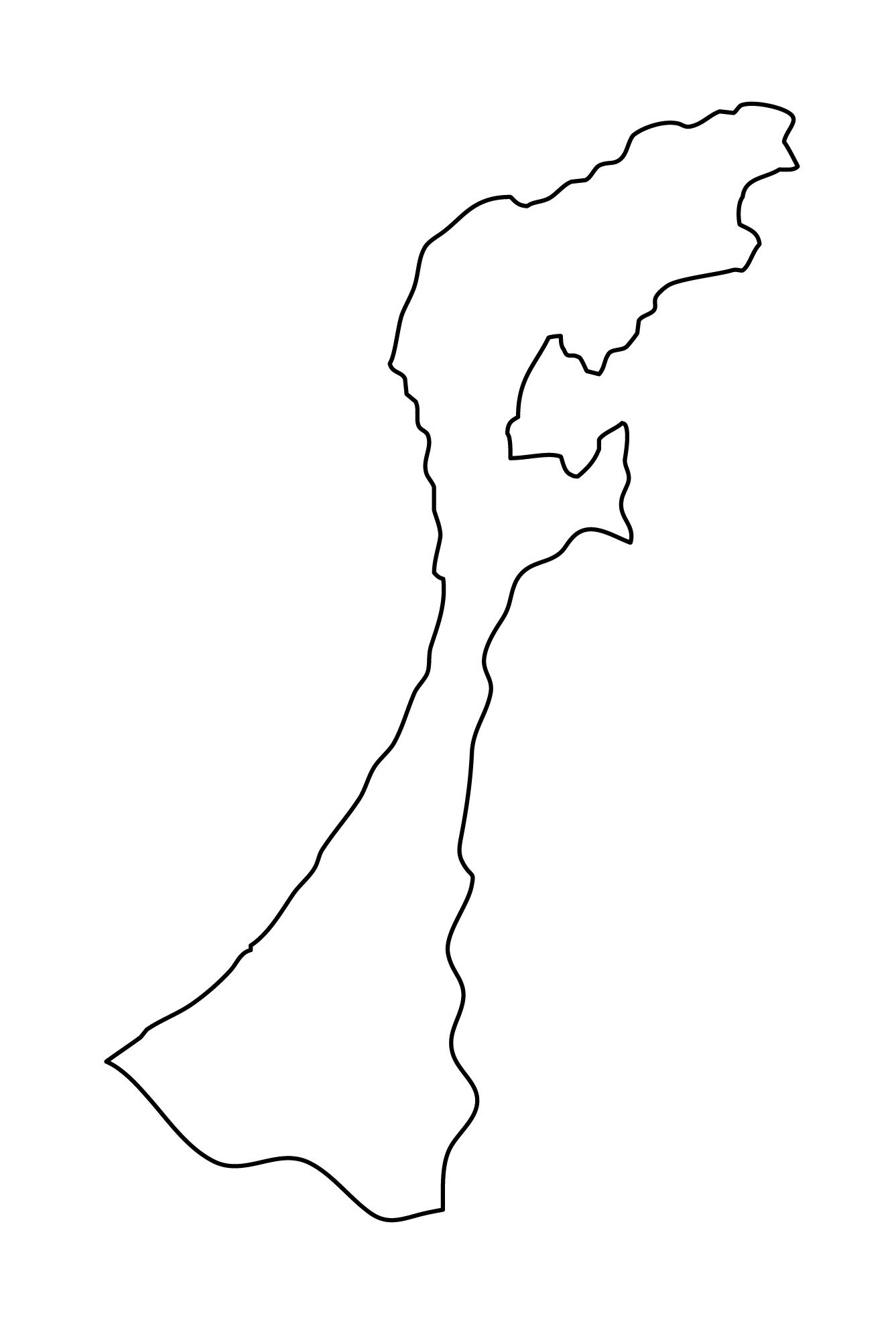 白地図・石川県・無地