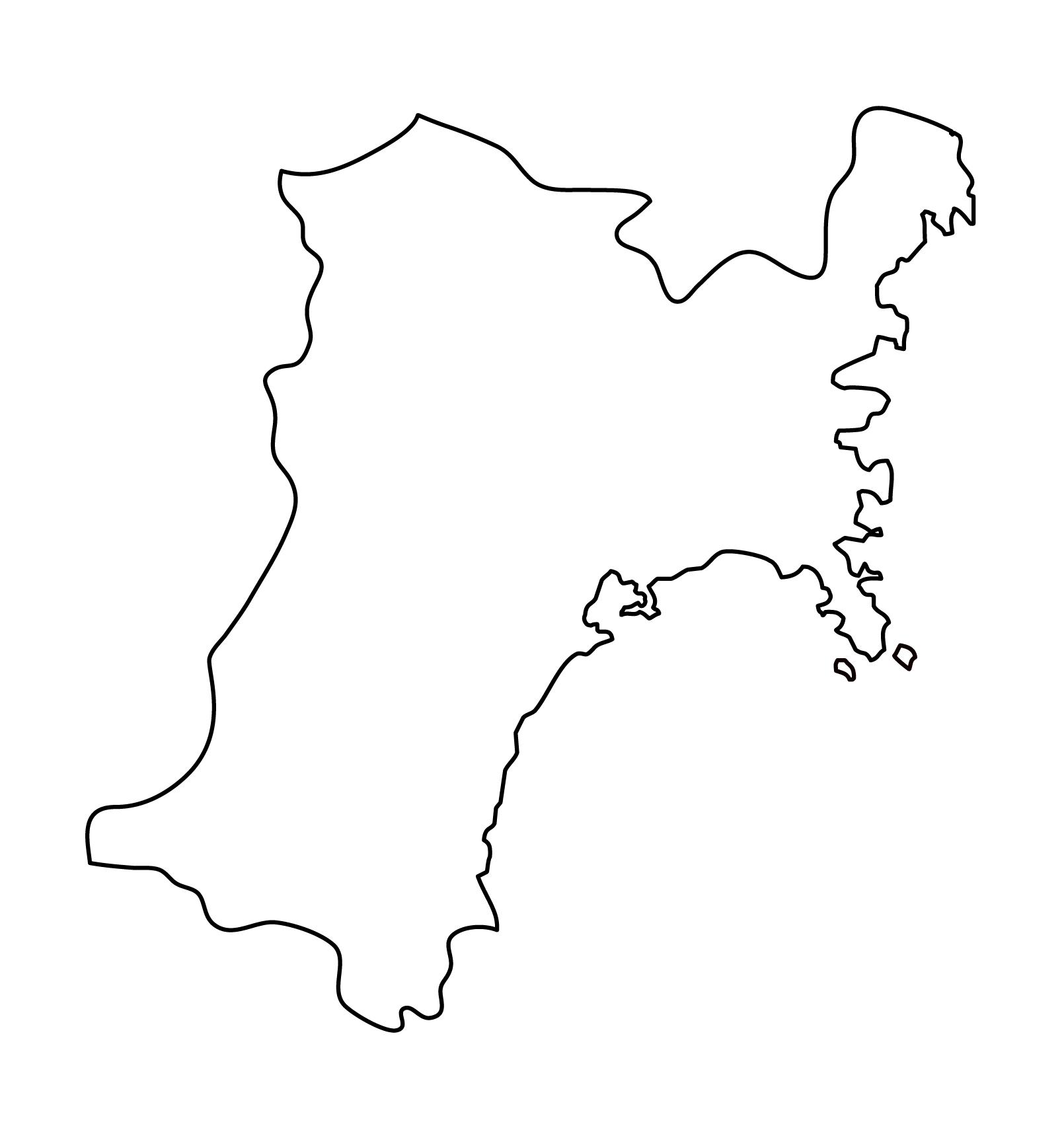 白地図・宮城県・無地