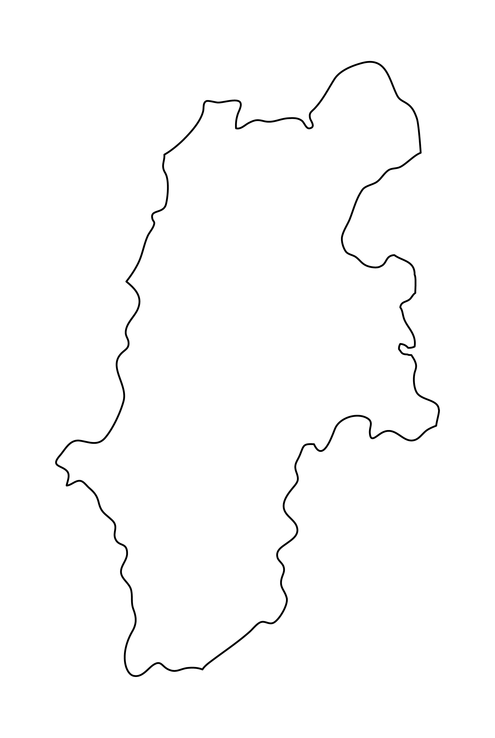 白地図・長野県・無地
