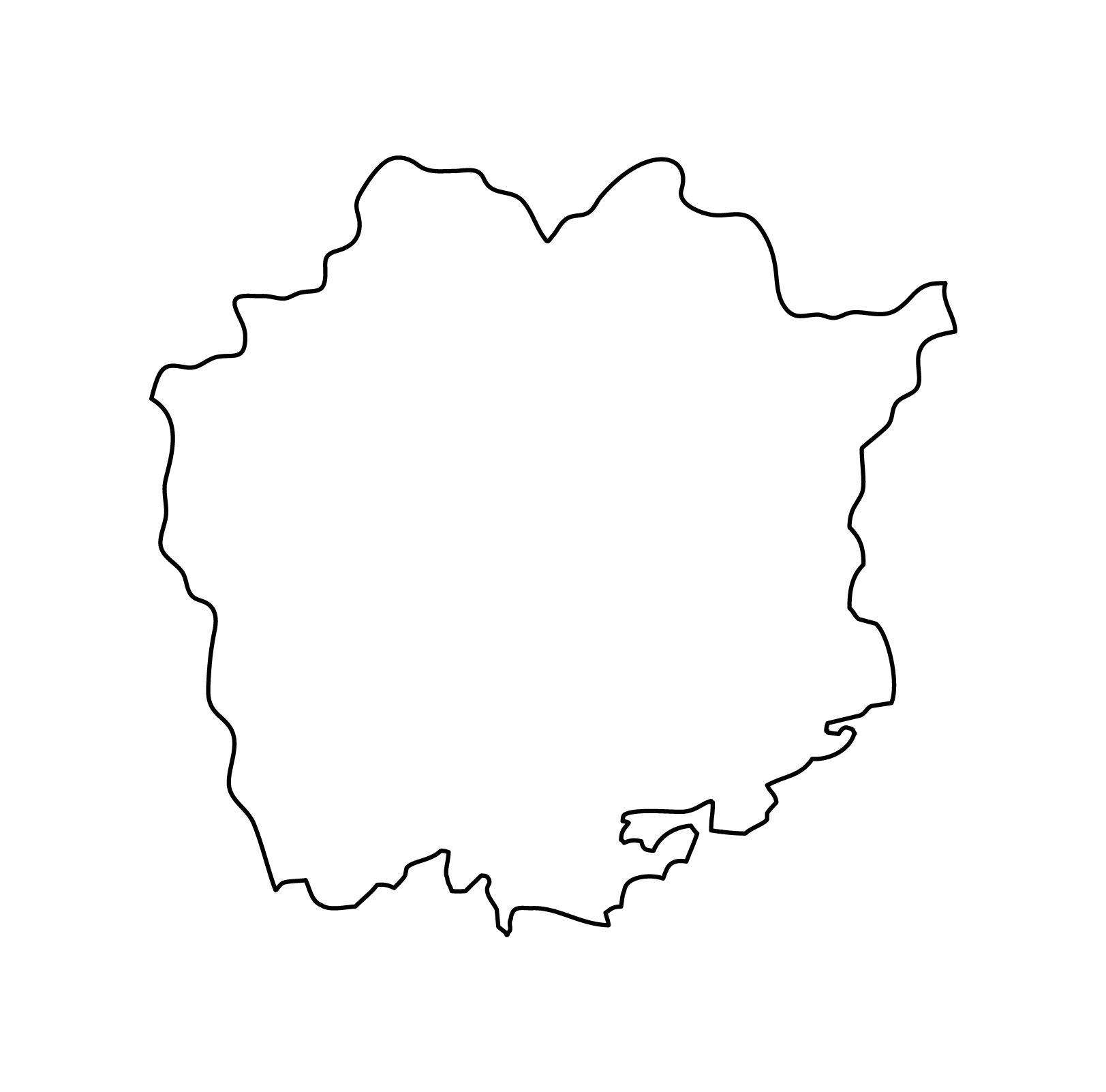 白地図・岡山県・無地