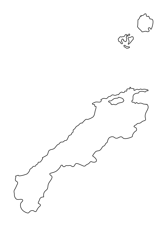 白地図・島根県・無地