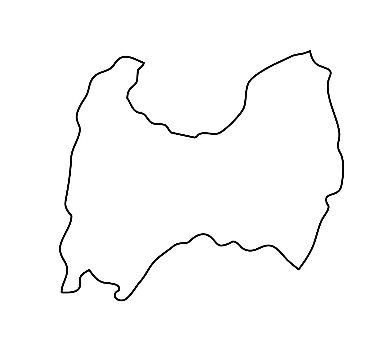 白地図・富山県・無地