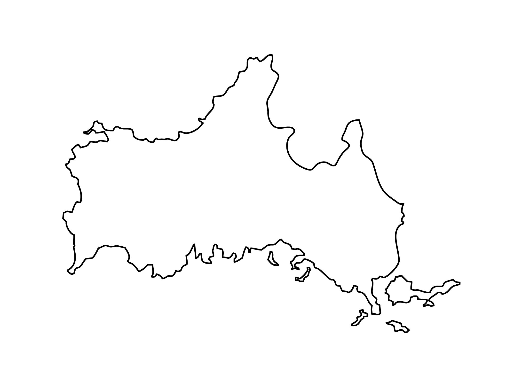 白地図・山口県・無地