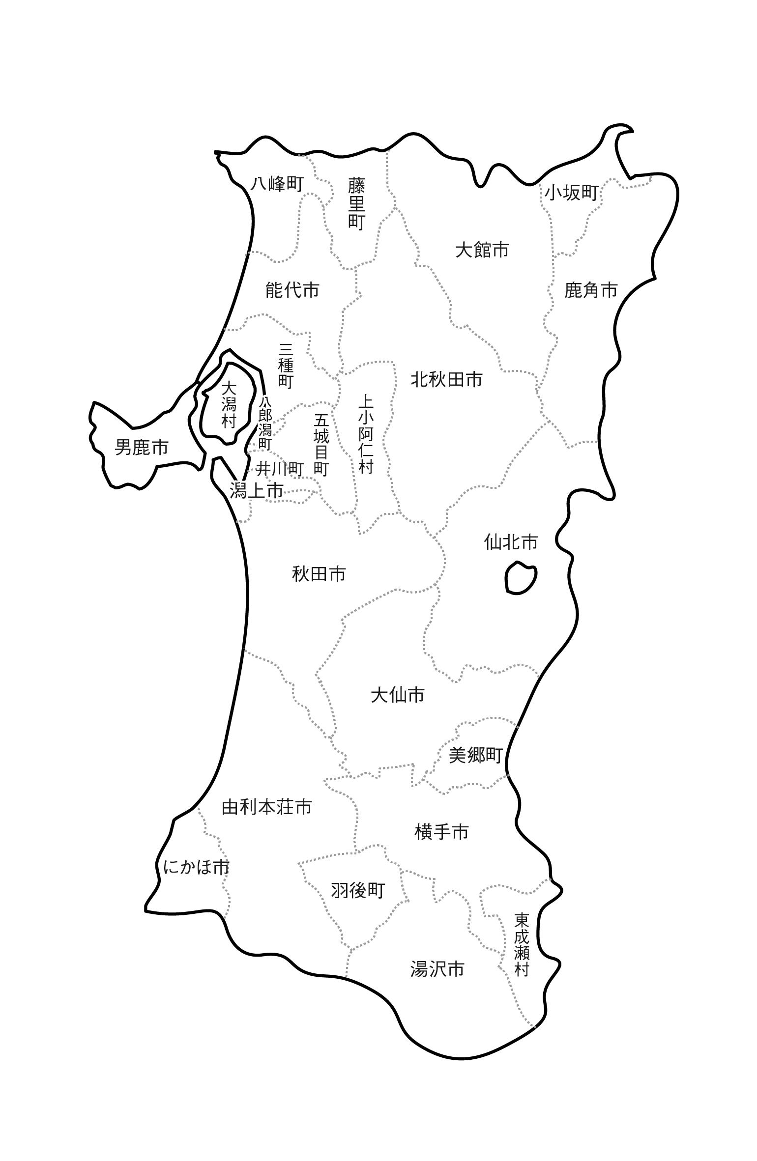[白地図]秋田県・ラインあり・市区町村名あり