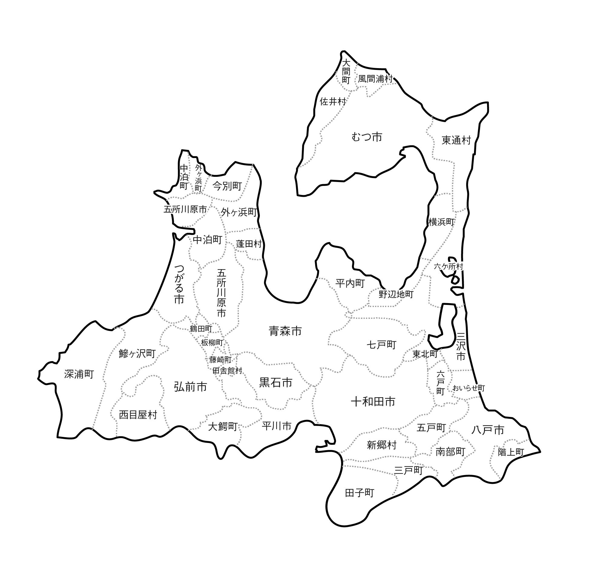 [白地図]青森県・ラインあり・市区町村名あり