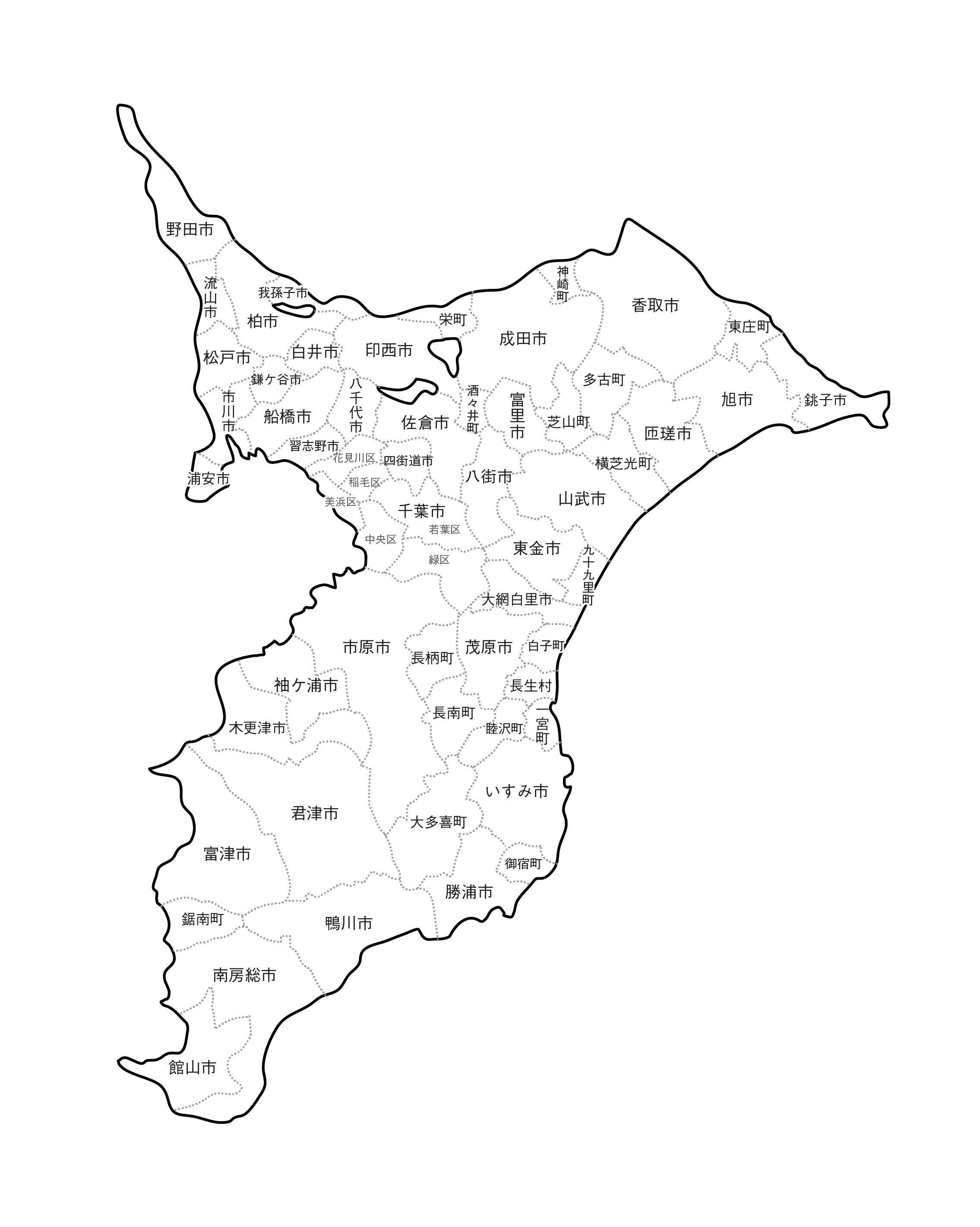 [白地図]千葉県・ラインあり・市区町村名あり