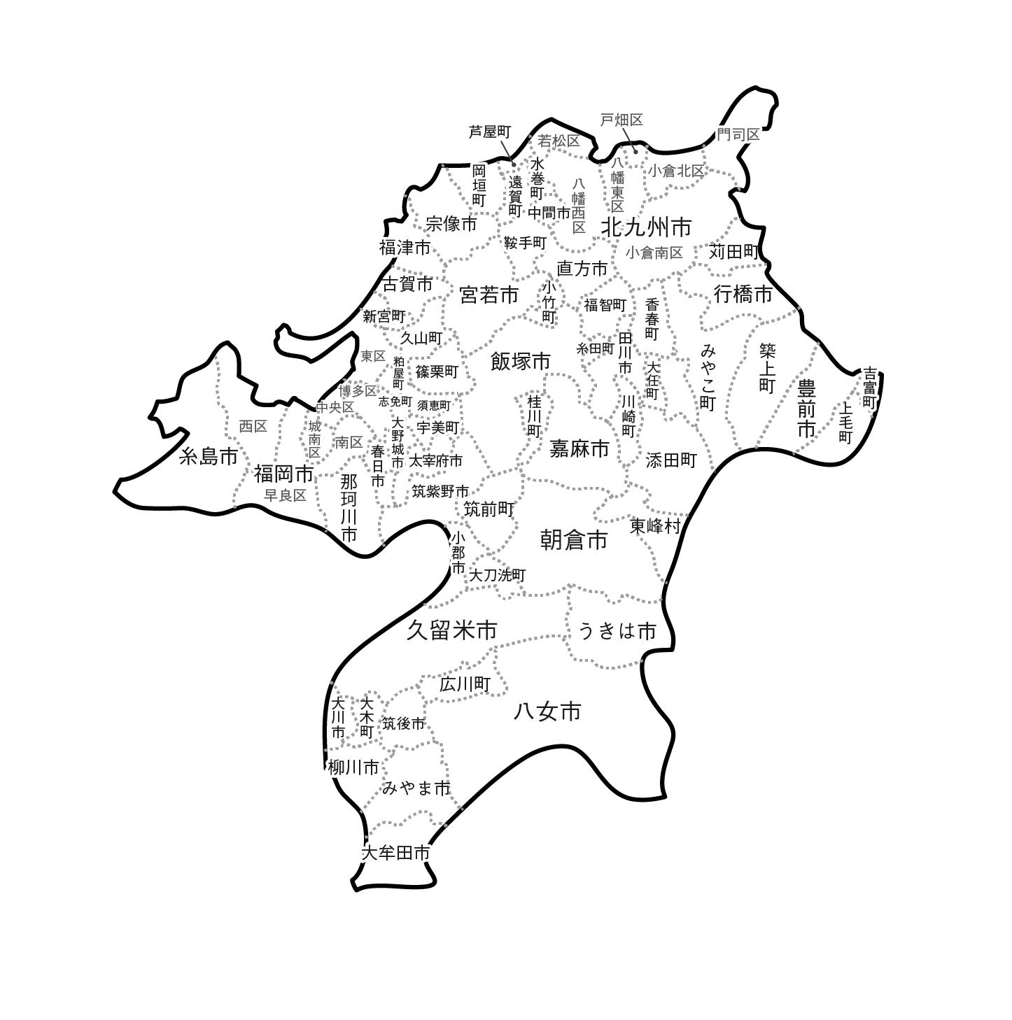 [白地図]福岡県・ラインあり・市区町村名あり