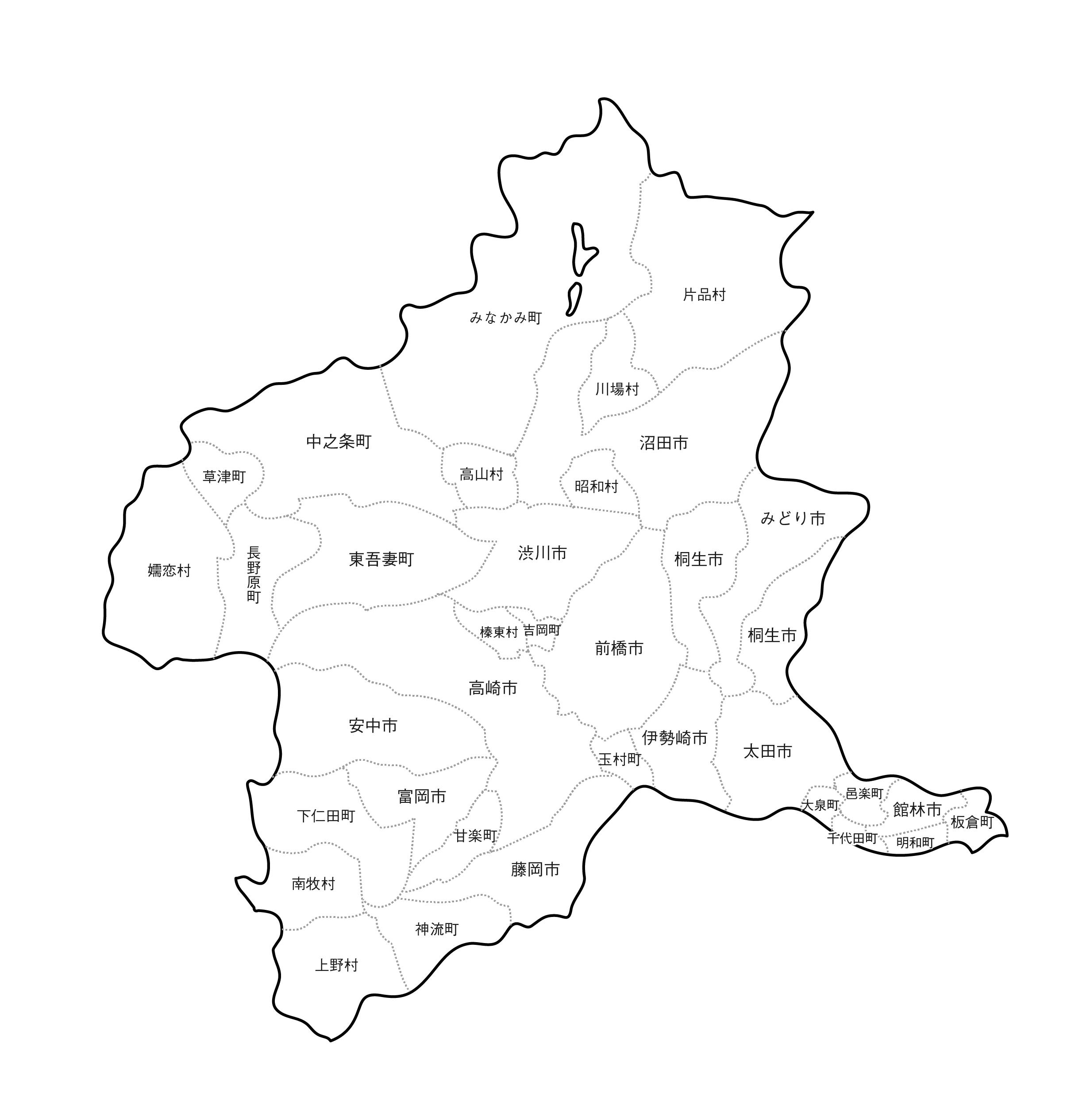 [白地図]群馬県・ラインあり・市区町村名あり