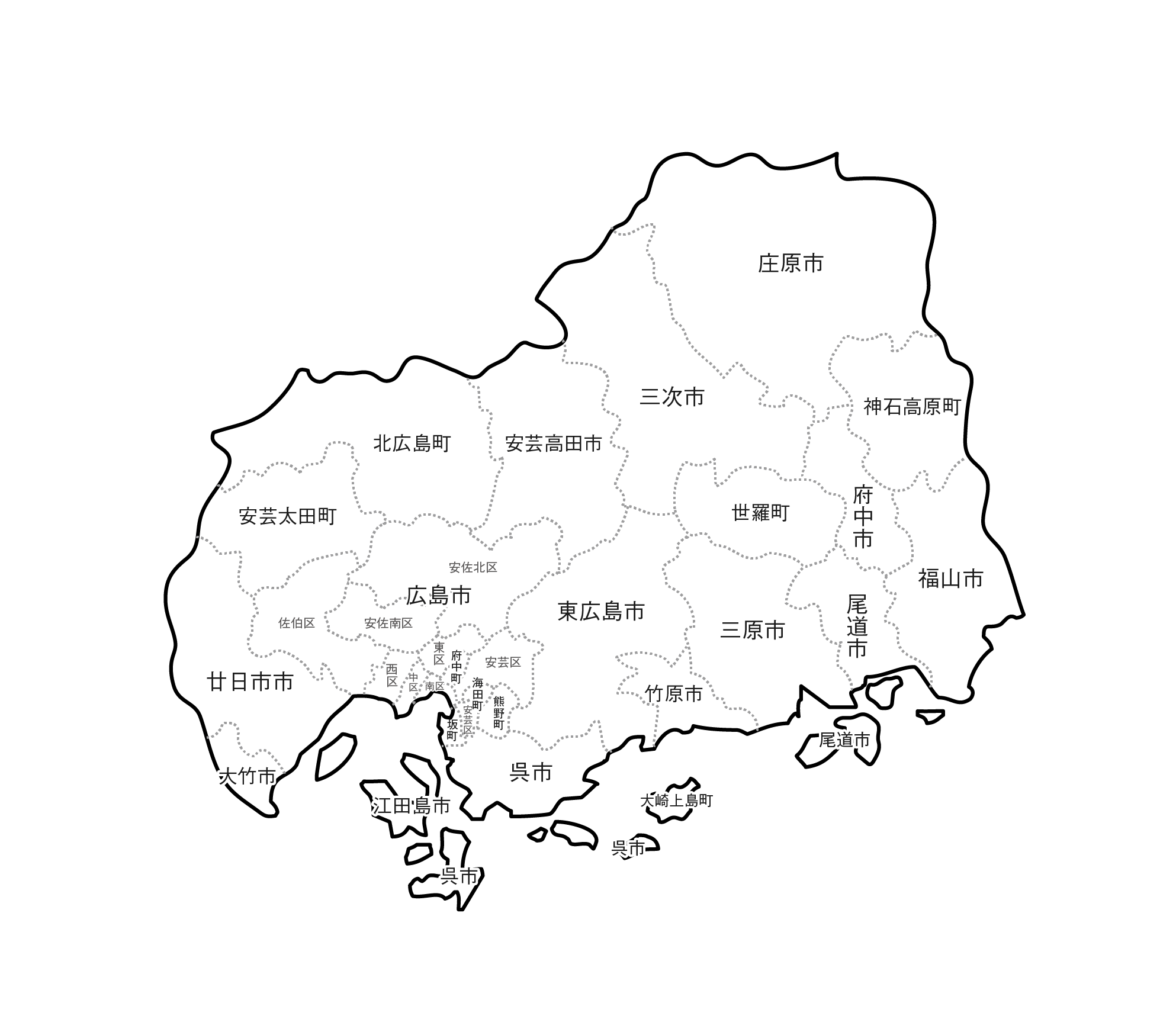 [白地図]広島県・ラインあり・市区町村名あり