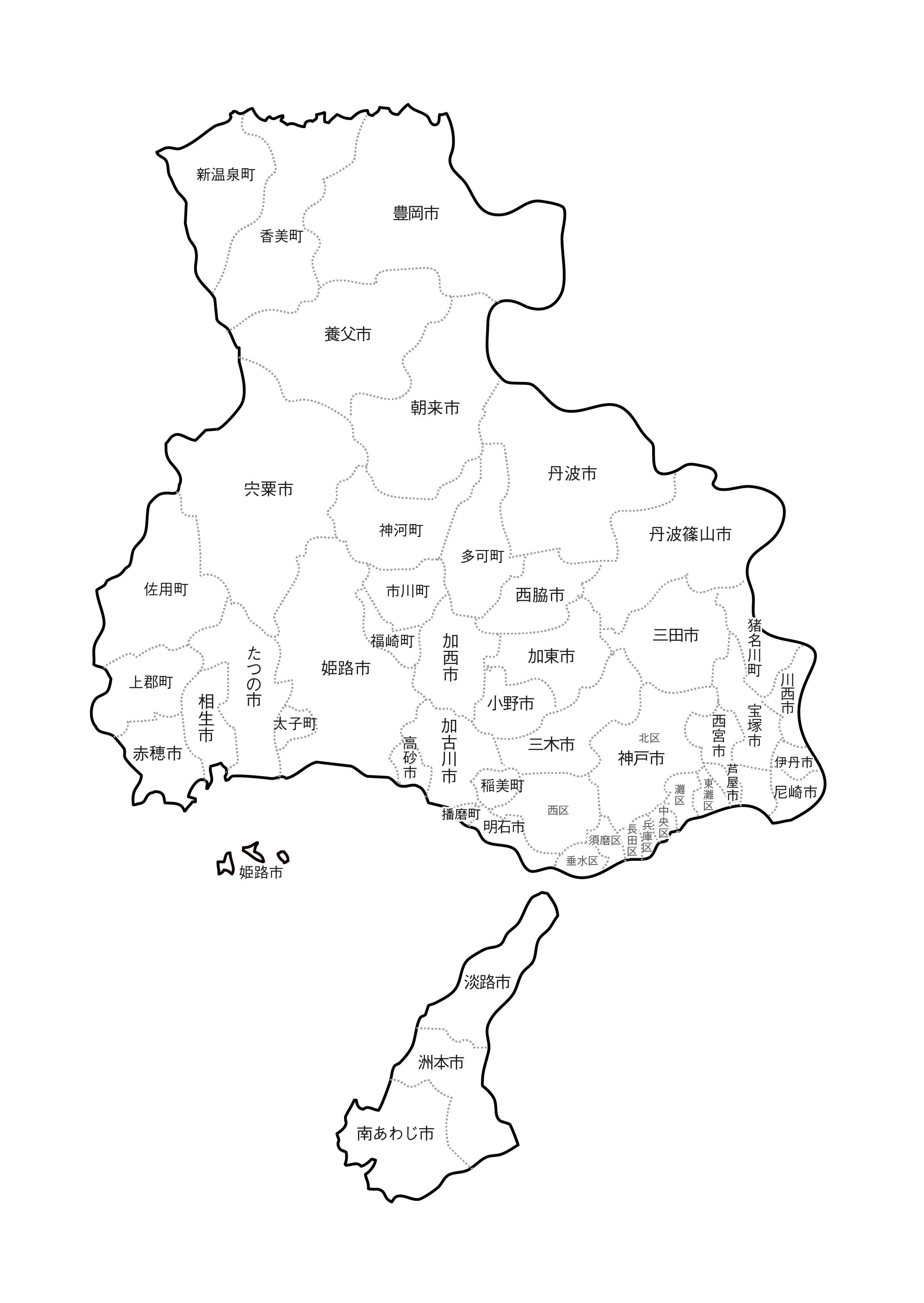 [白地図]兵庫県・ラインあり・市区町村名あり