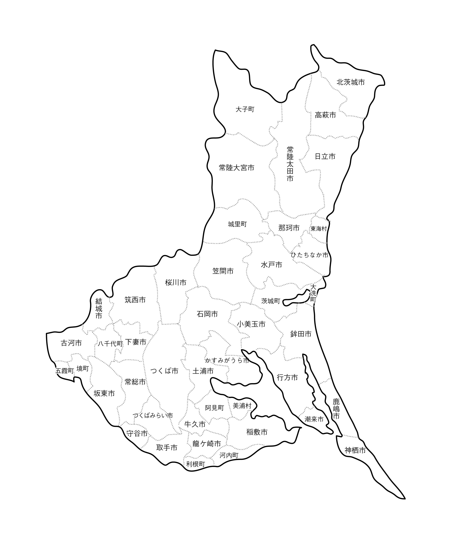 [白地図]茨城県・ラインあり・市区町村名あり