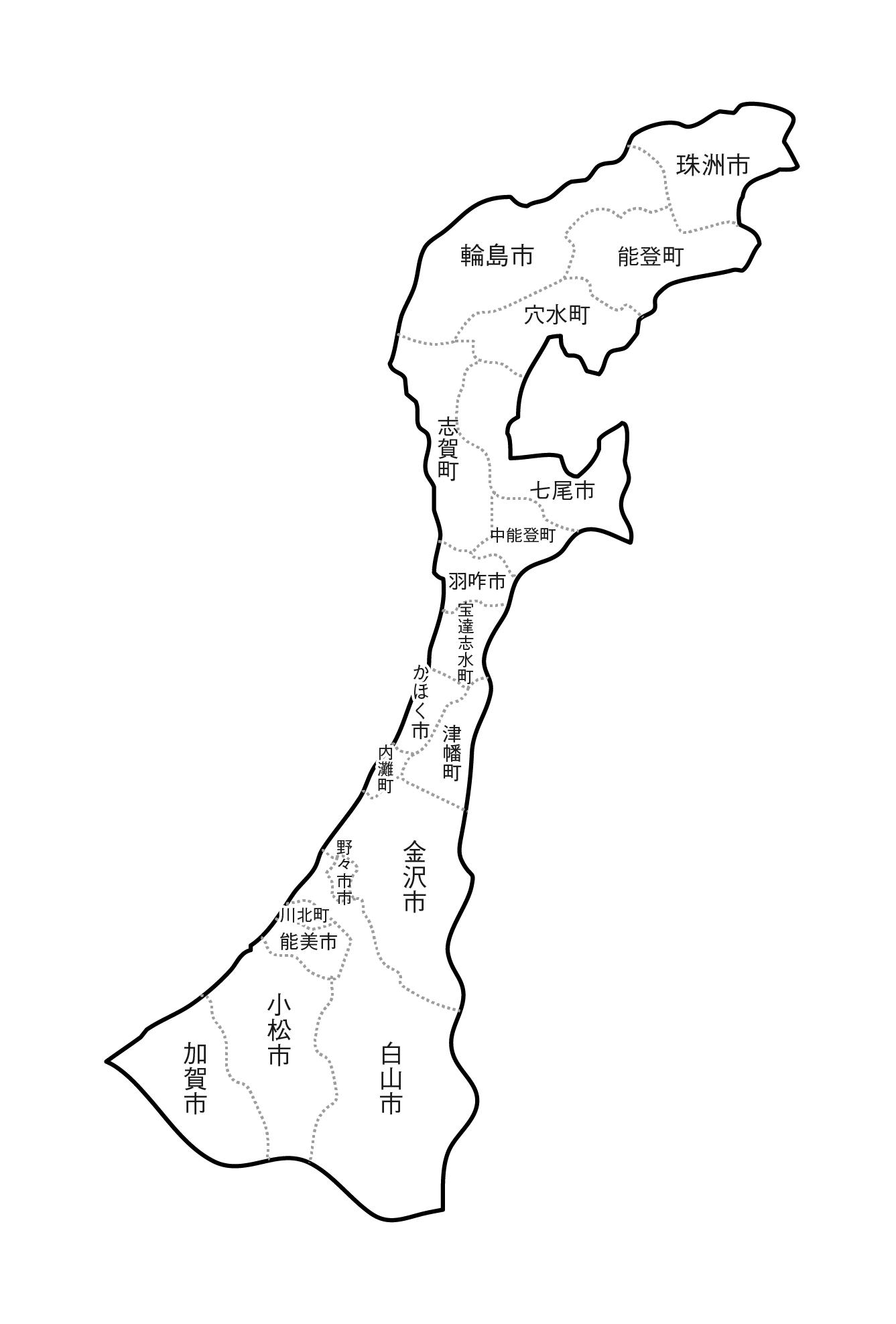 [白地図]石川県・ラインあり・市区町村名あり