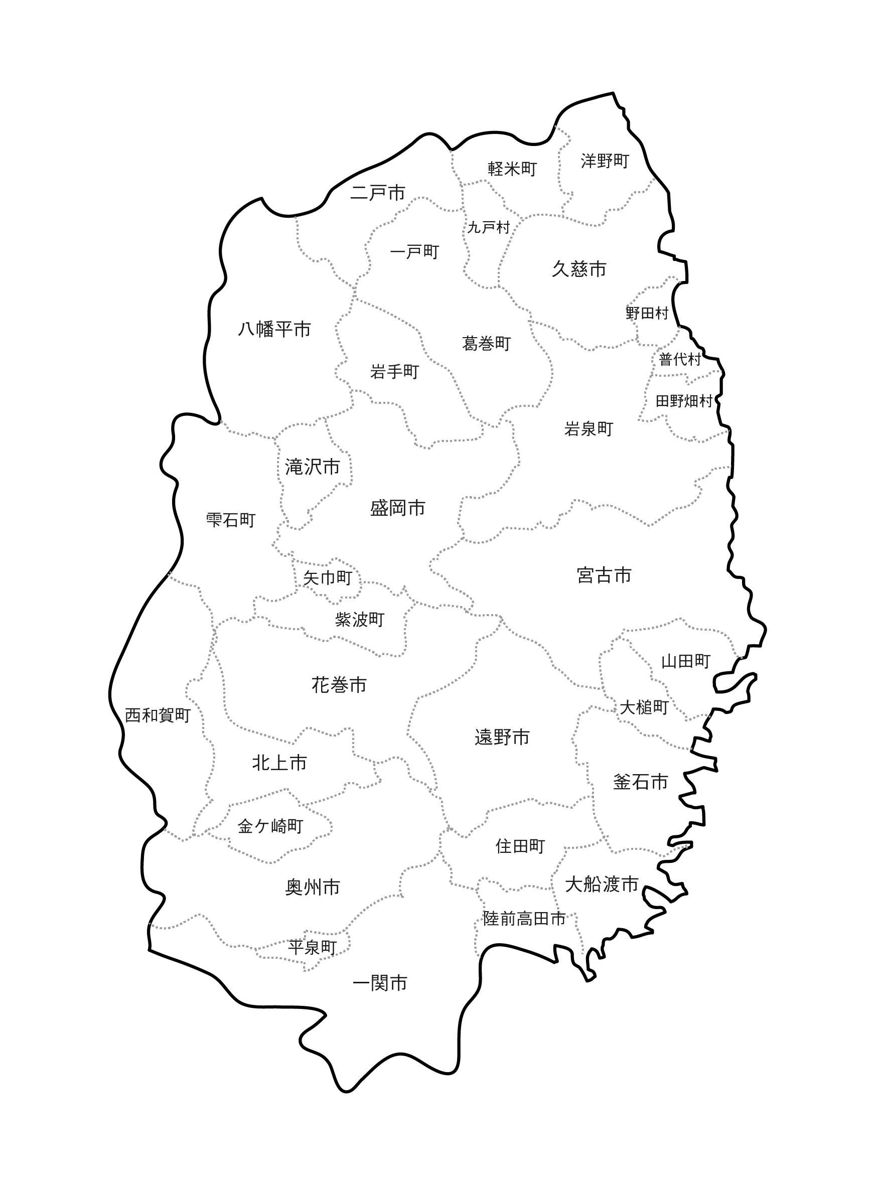 [白地図]岩手県・ラインあり・市区町村名あり