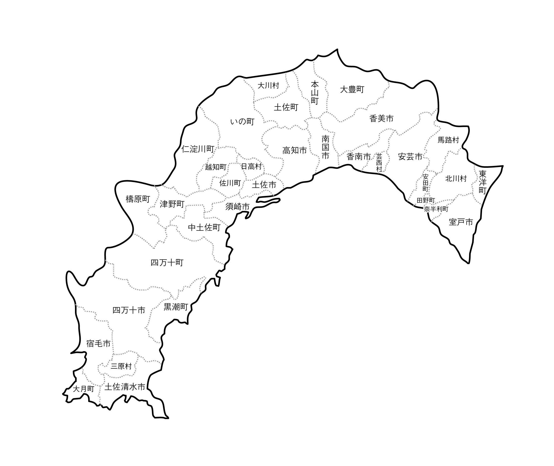 [白地図]高知県・ラインあり・市区町村名あり