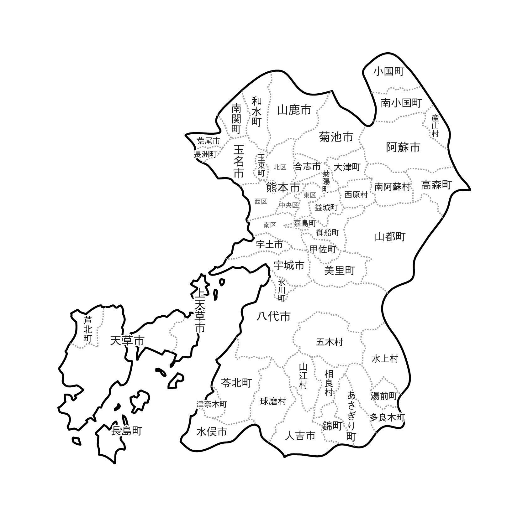 [白地図]熊本県・ラインあり・市区町村名あり