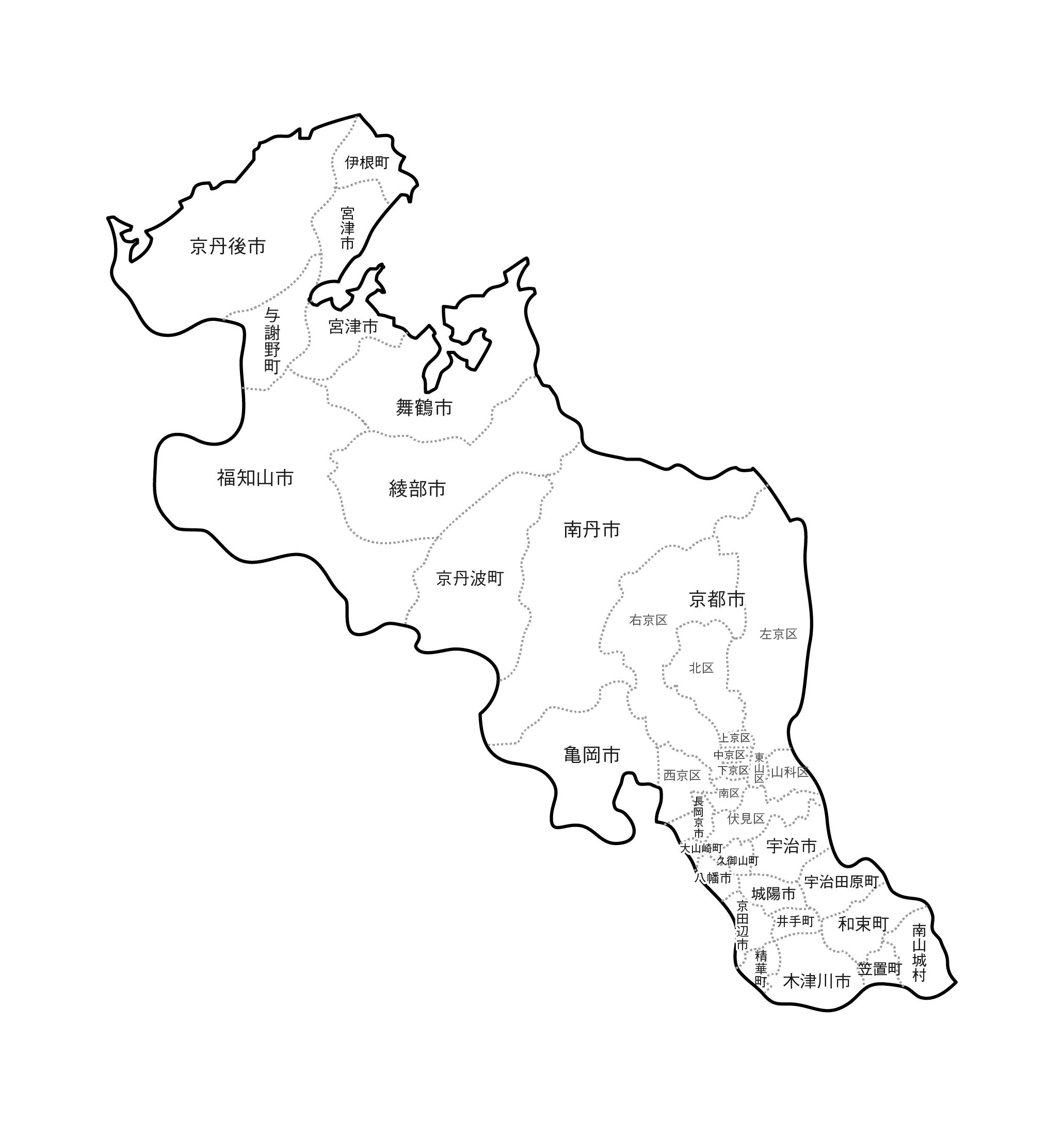 [白地図]京都府・ラインあり・市区町村名あり