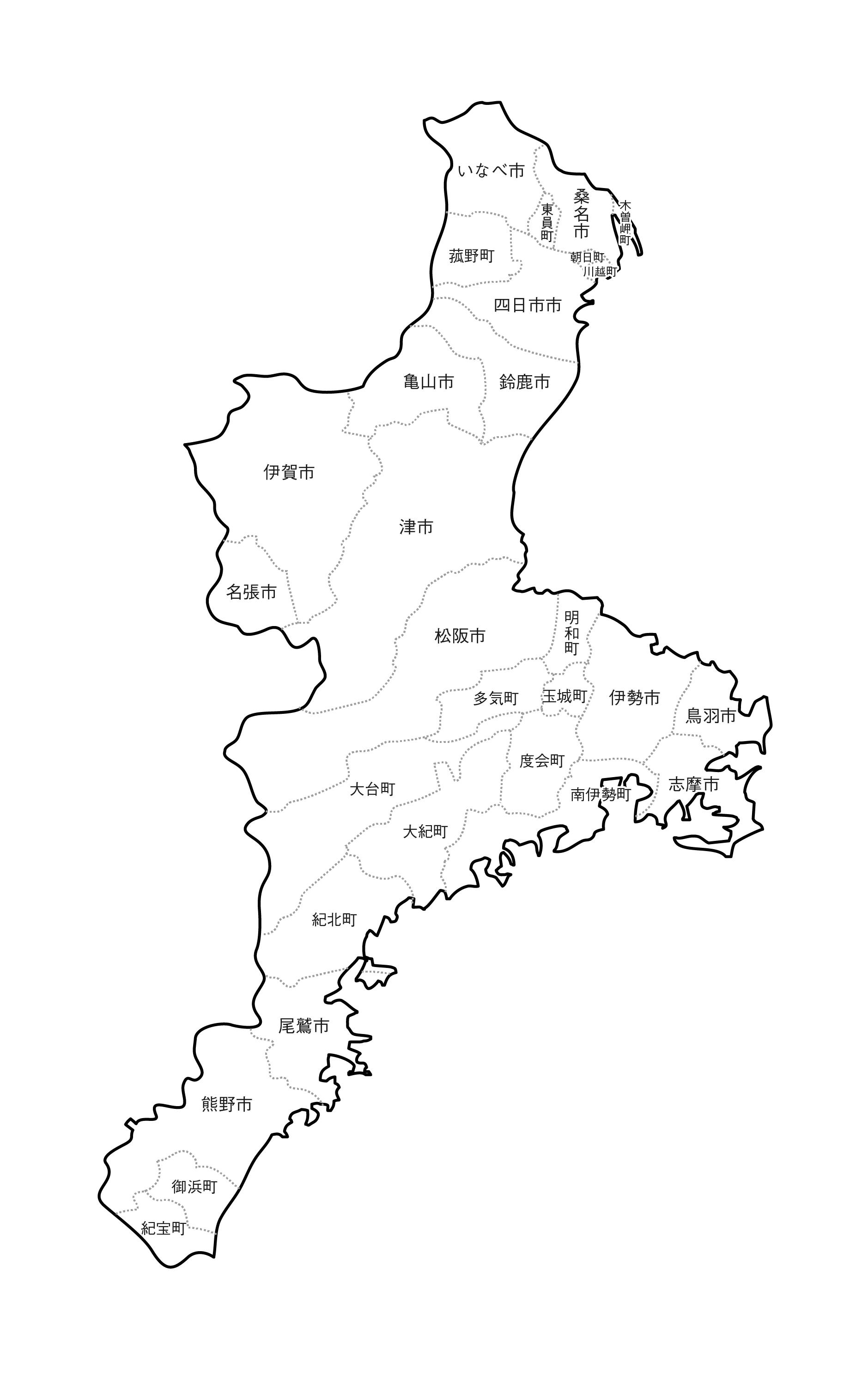 [白地図]三重県・ラインあり・市区町村名あり