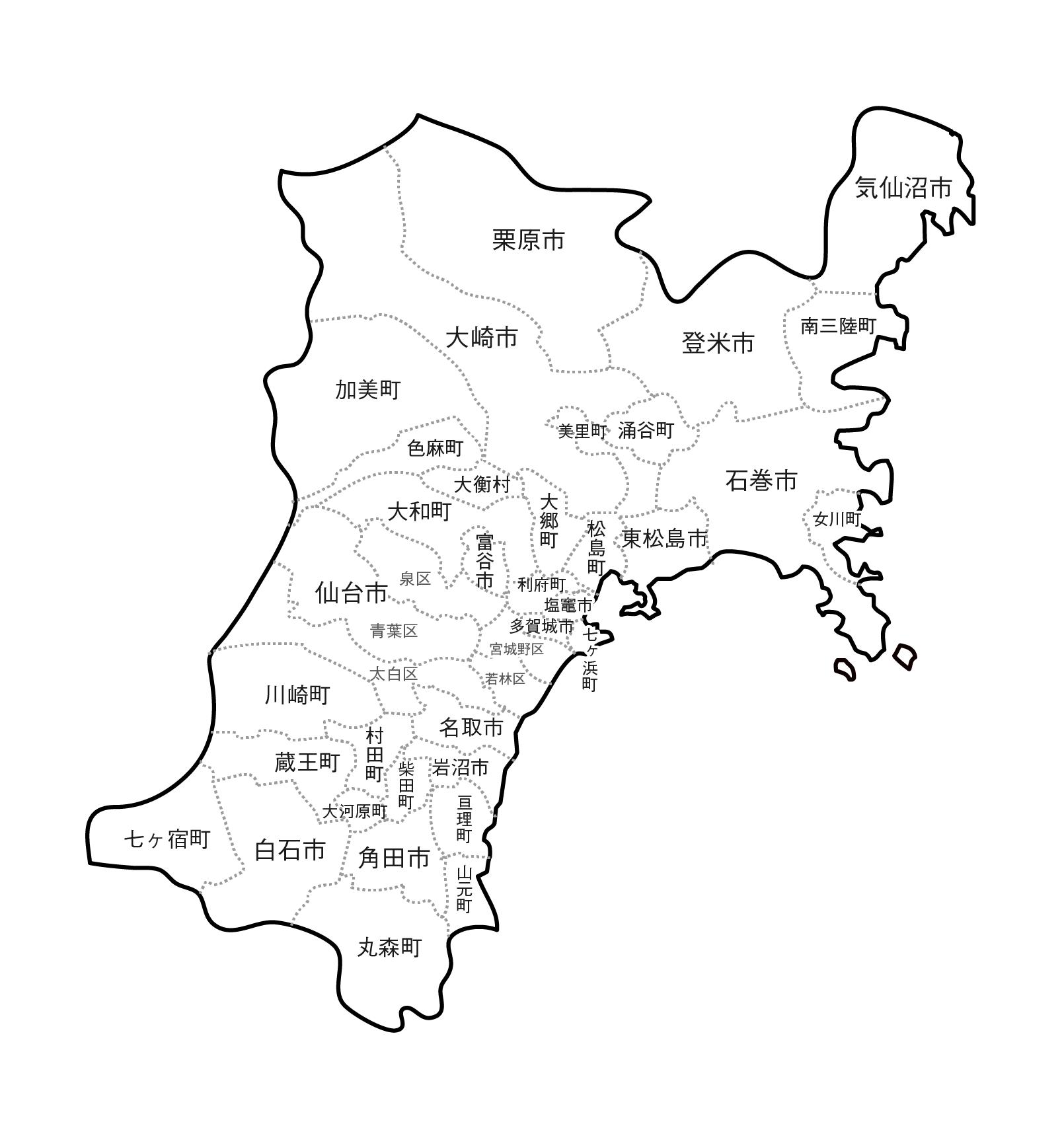 [白地図]宮城県・ラインあり・市区町村名あり