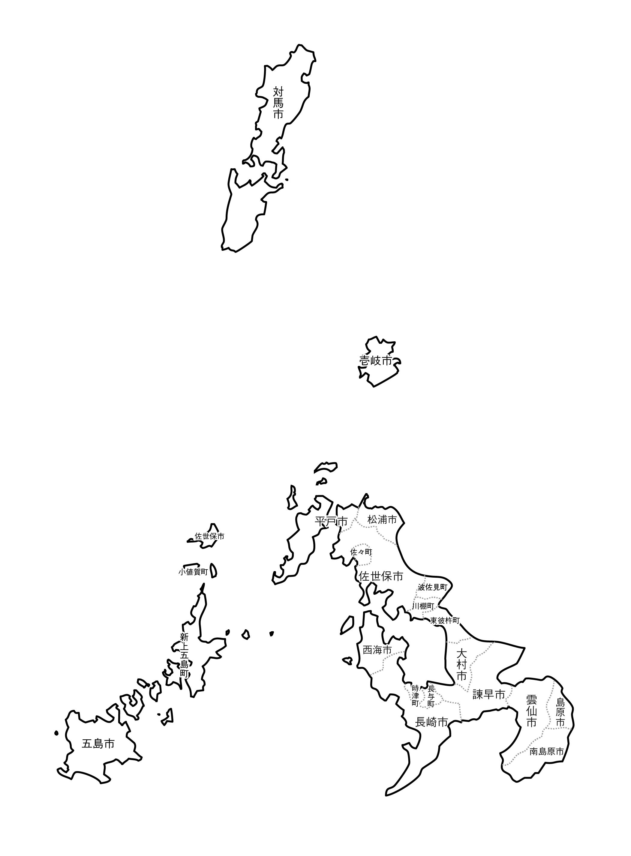[白地図]長崎県・ラインあり・市区町村名あり