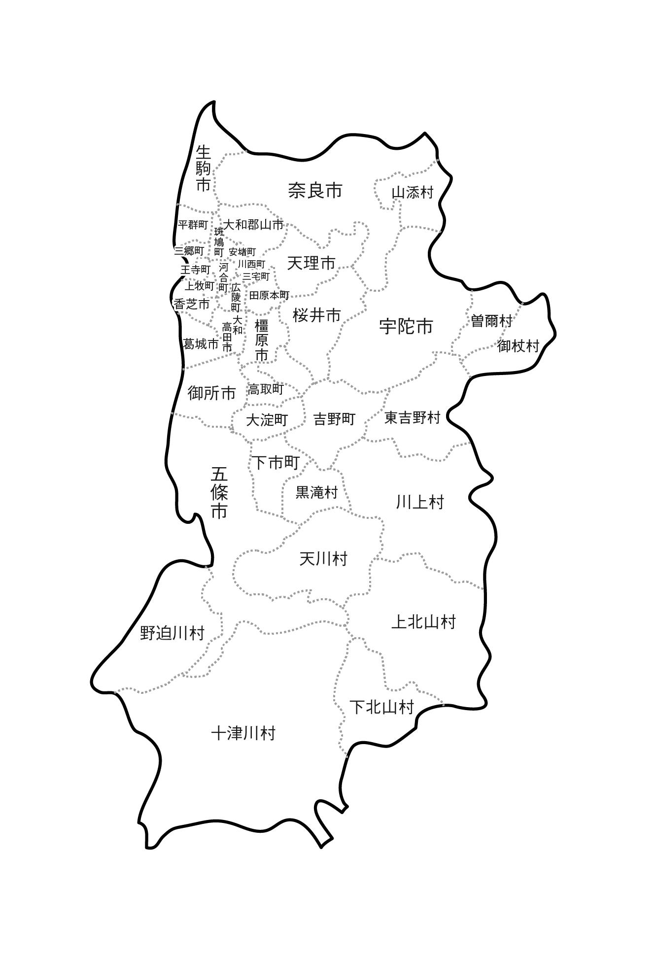 [白地図]奈良県・ラインあり・市区町村名あり