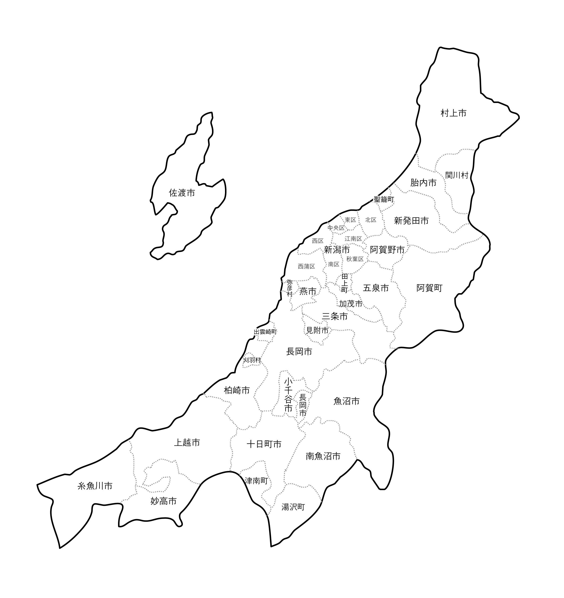 [白地図]新潟県・ラインあり・市区町村名あり