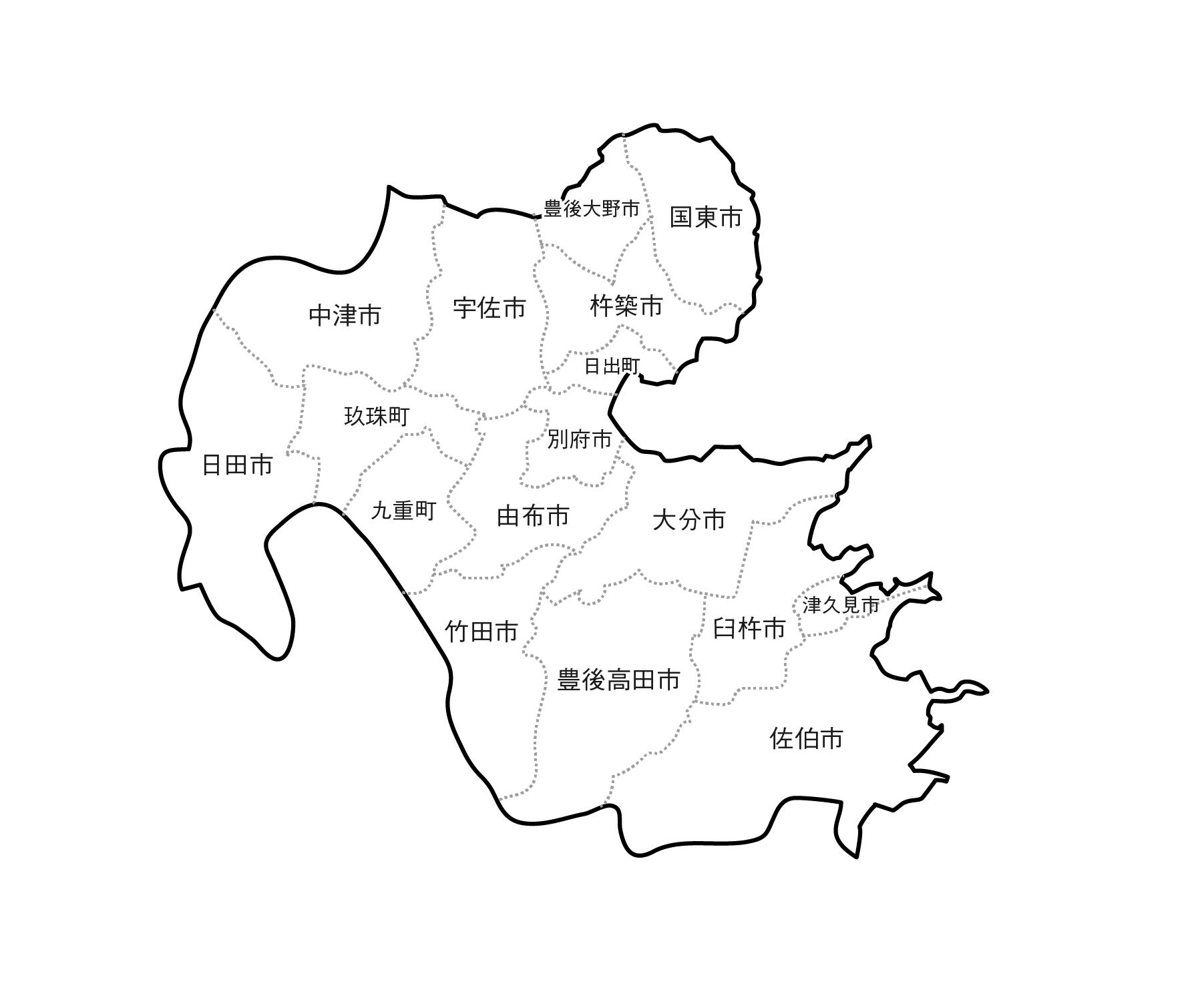 [白地図]大分県・ラインあり・市区町村名あり