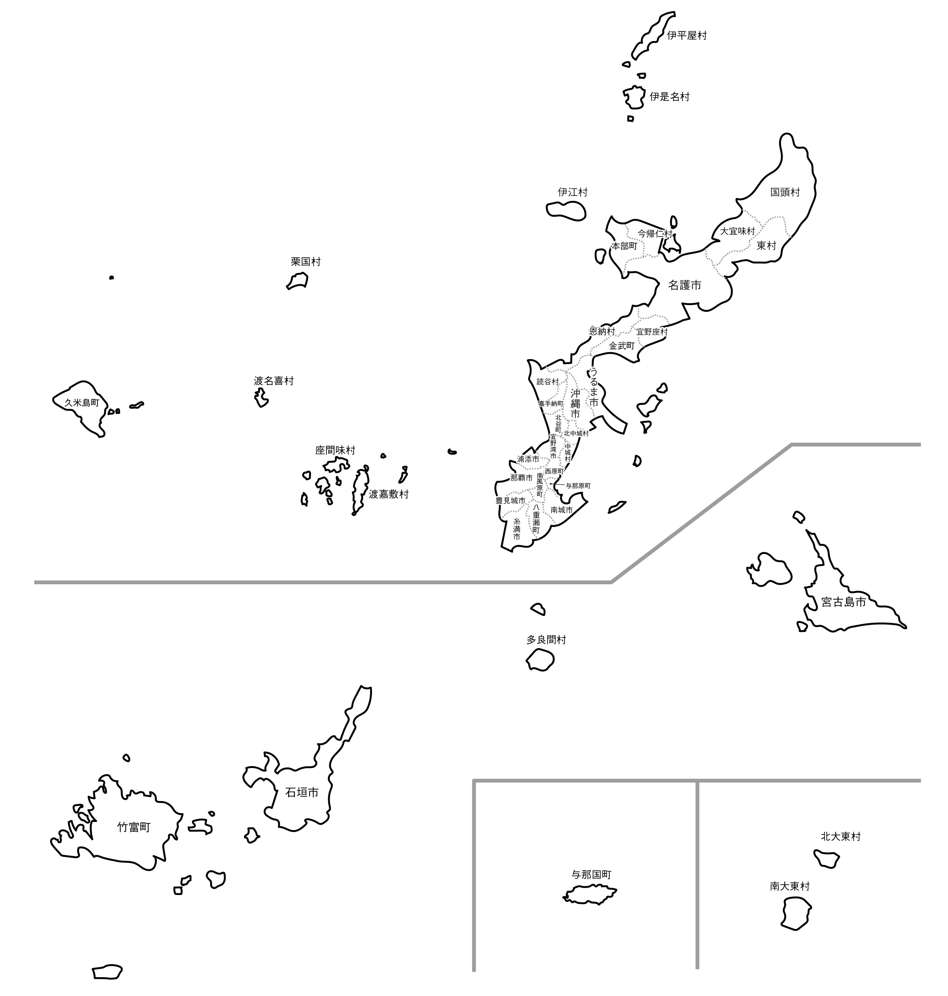 [白地図]沖縄県・ラインあり・市区町村名あり