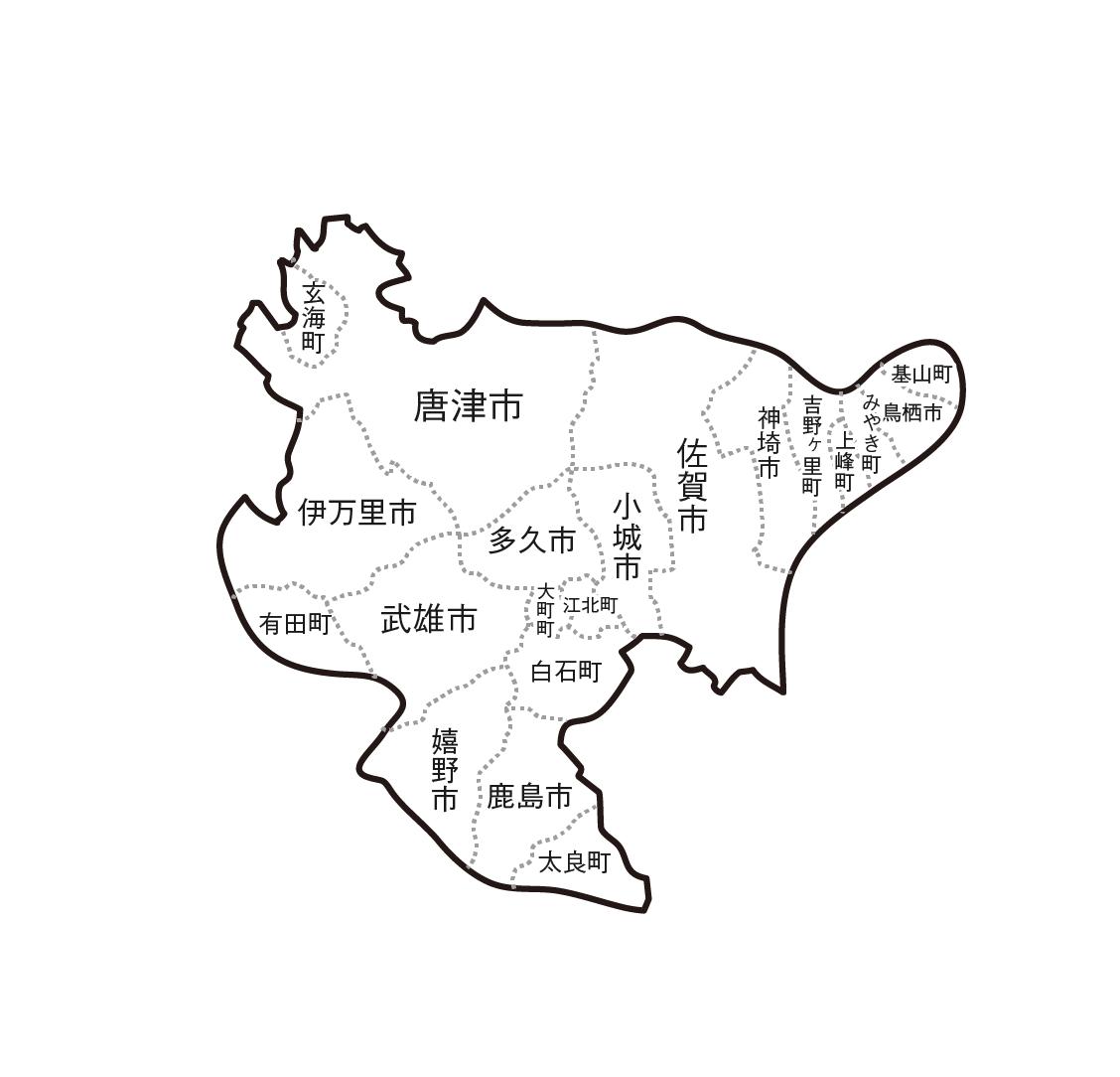 [白地図]佐賀県・ラインあり・市区町村名あり