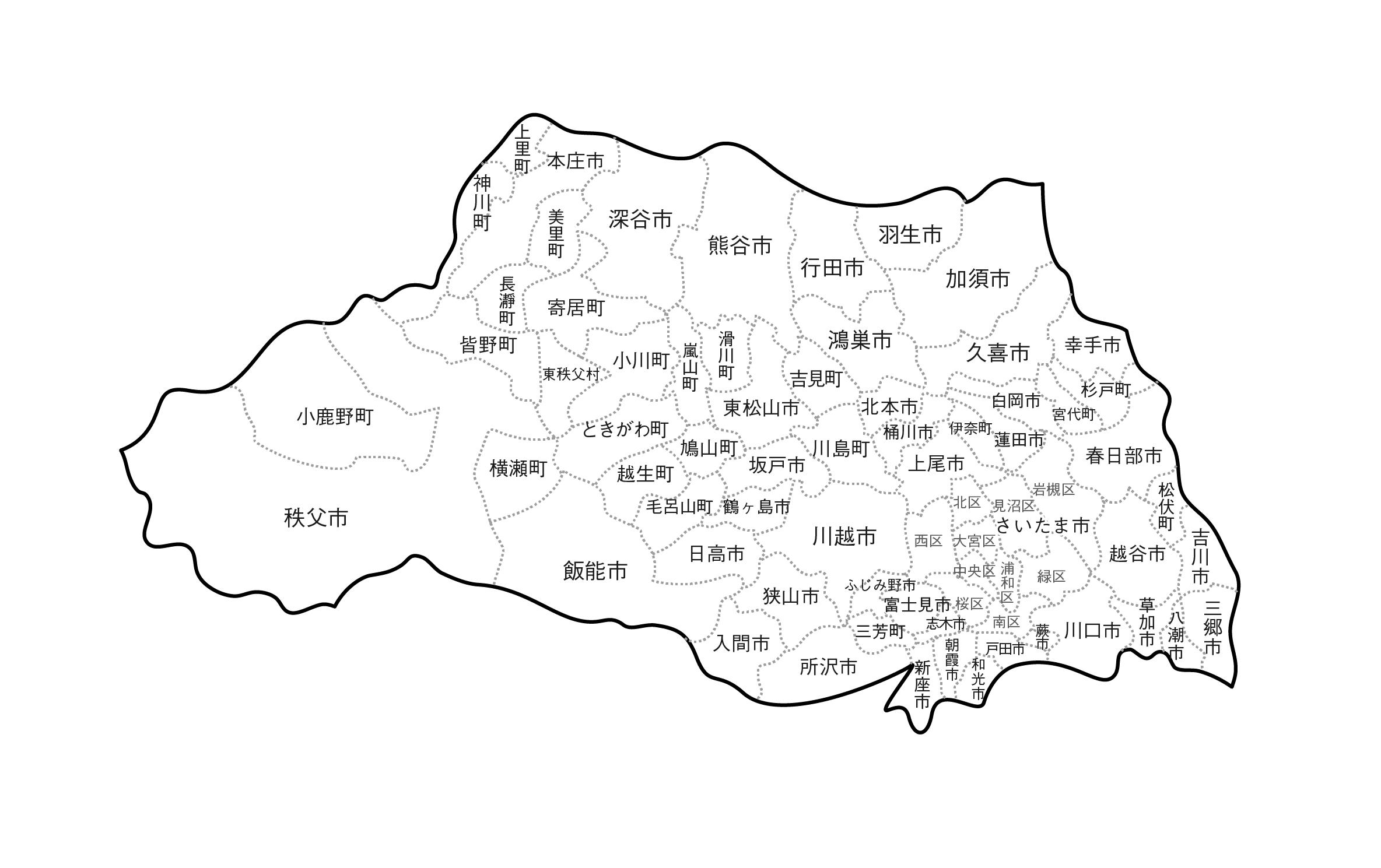 [白地図]埼玉県・ラインあり・市区町村名あり