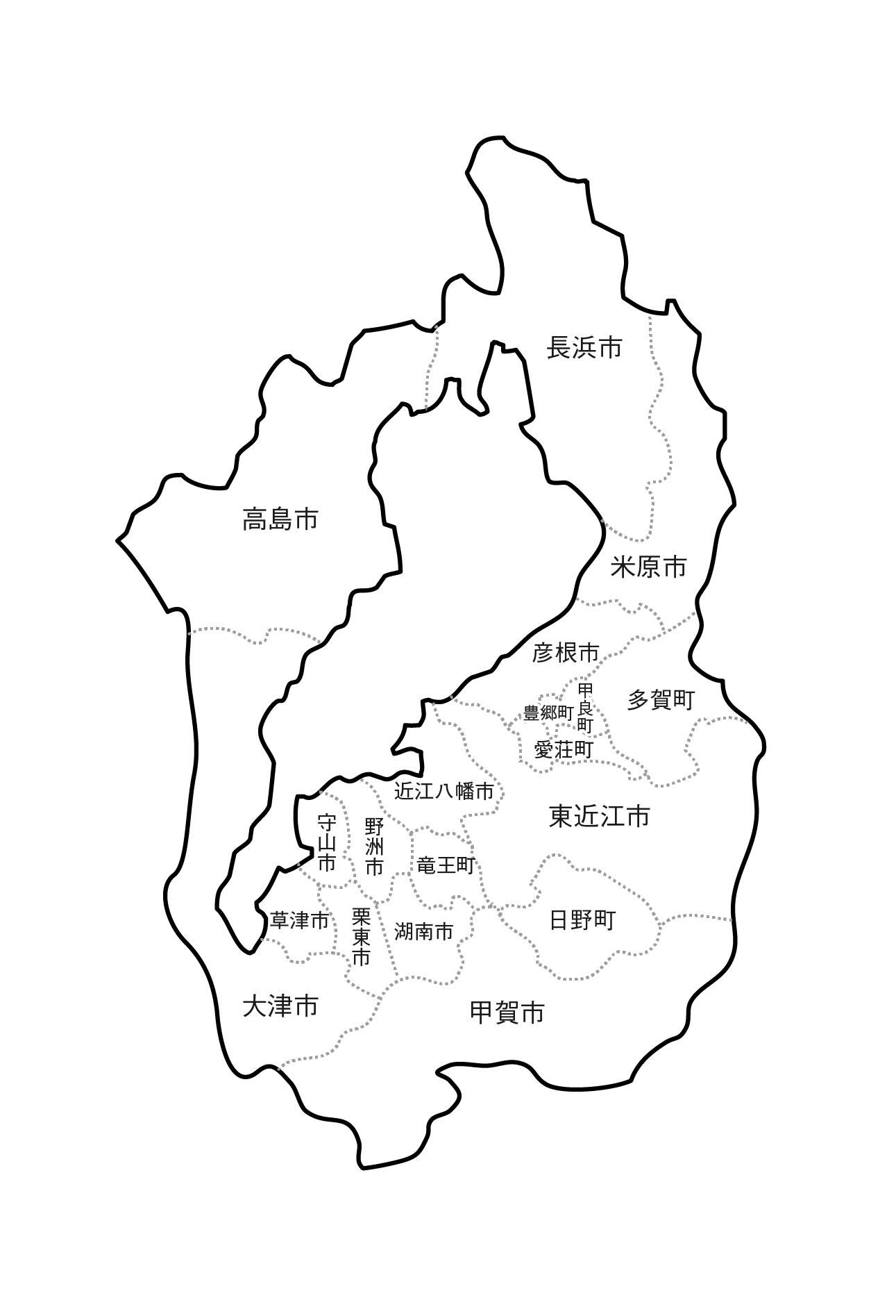 [白地図]滋賀県・ラインあり・市区町村名あり