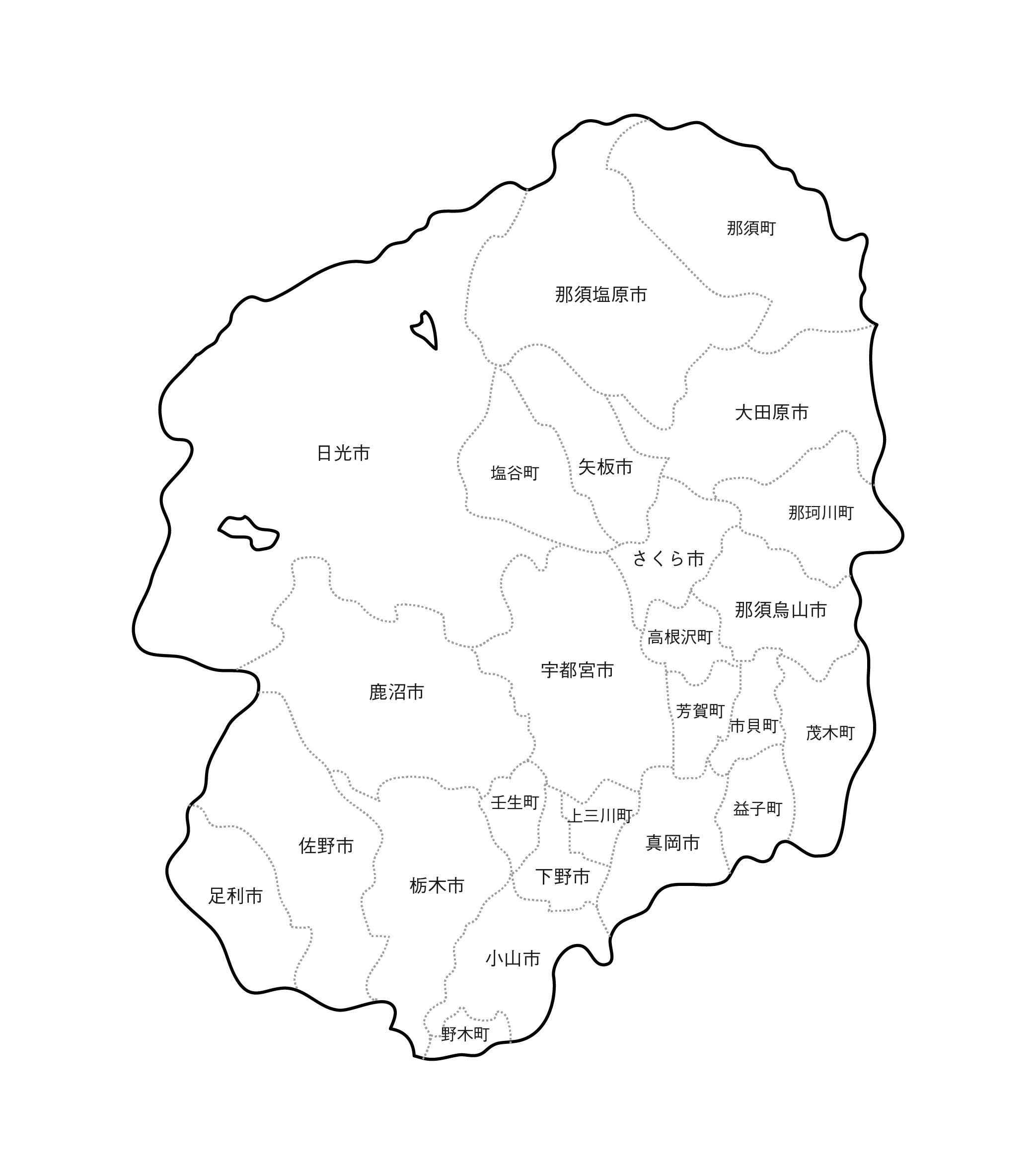 [白地図]栃木県・ラインあり・市区町村名あり