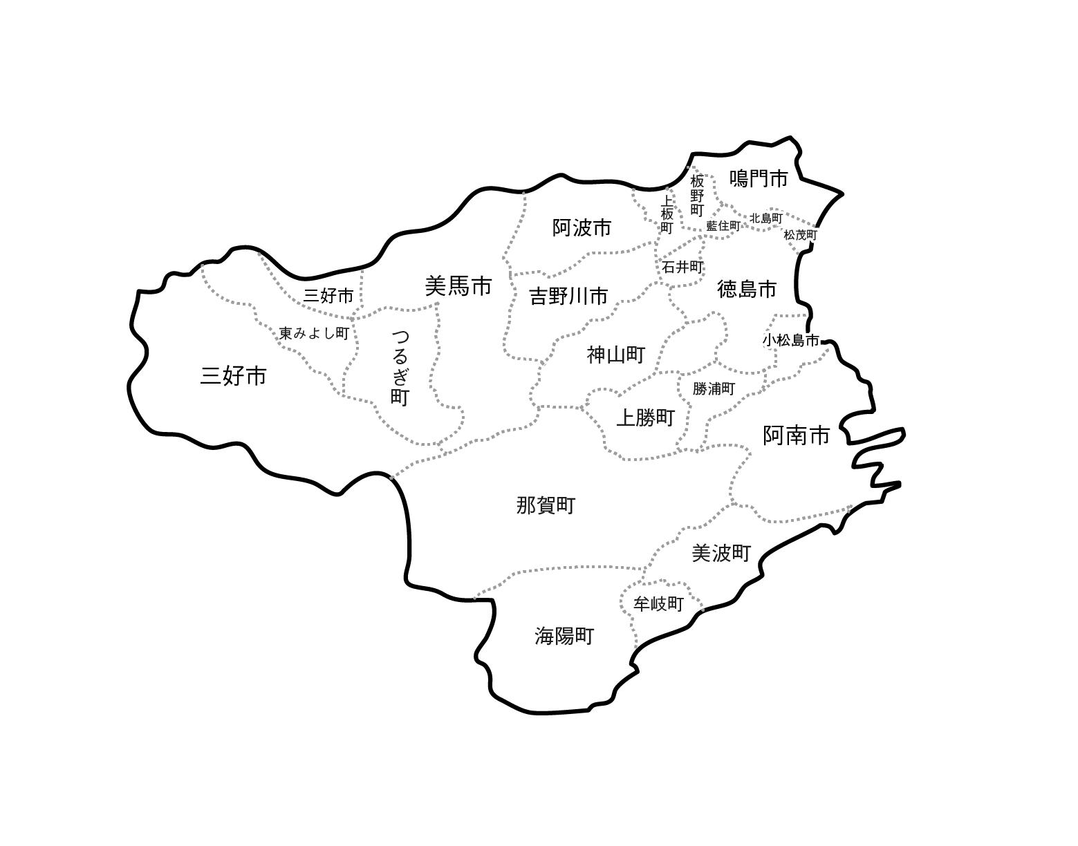 [白地図]徳島県・ラインあり・市区町村名あり