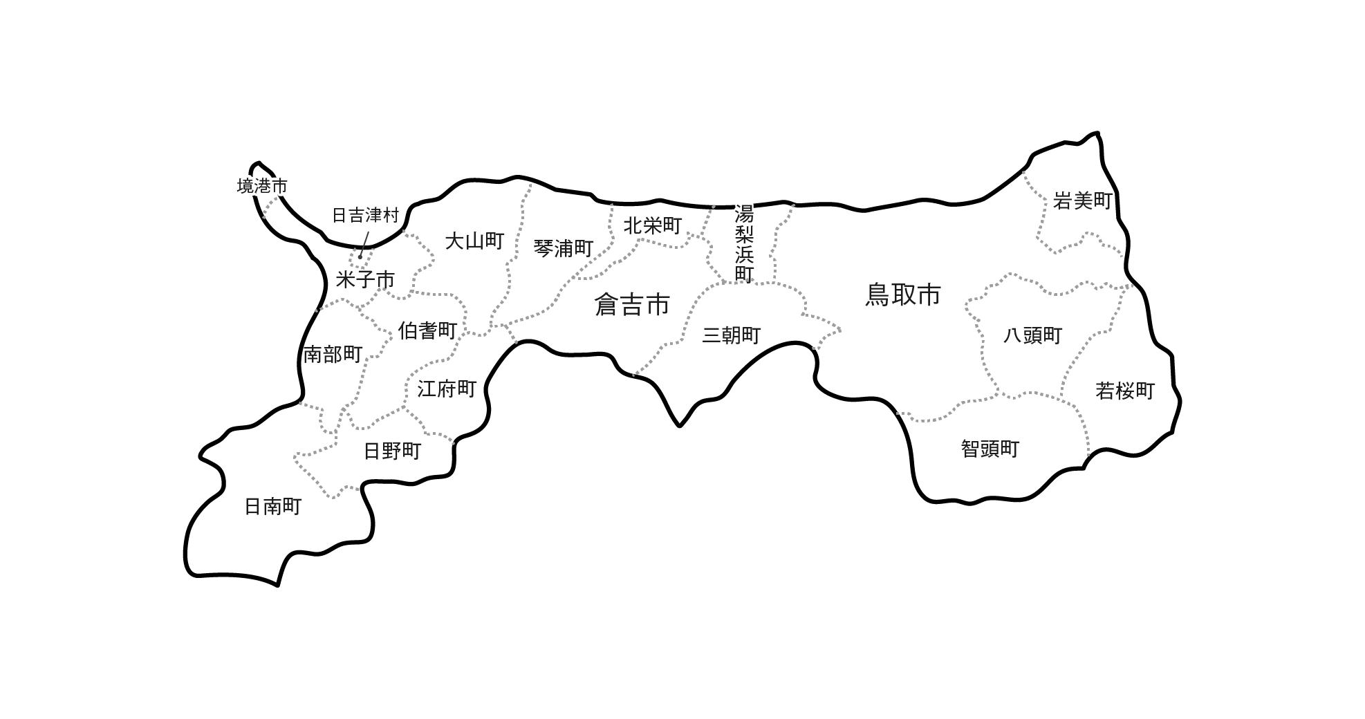 [白地図]鳥取県・ラインあり・市区町村名あり