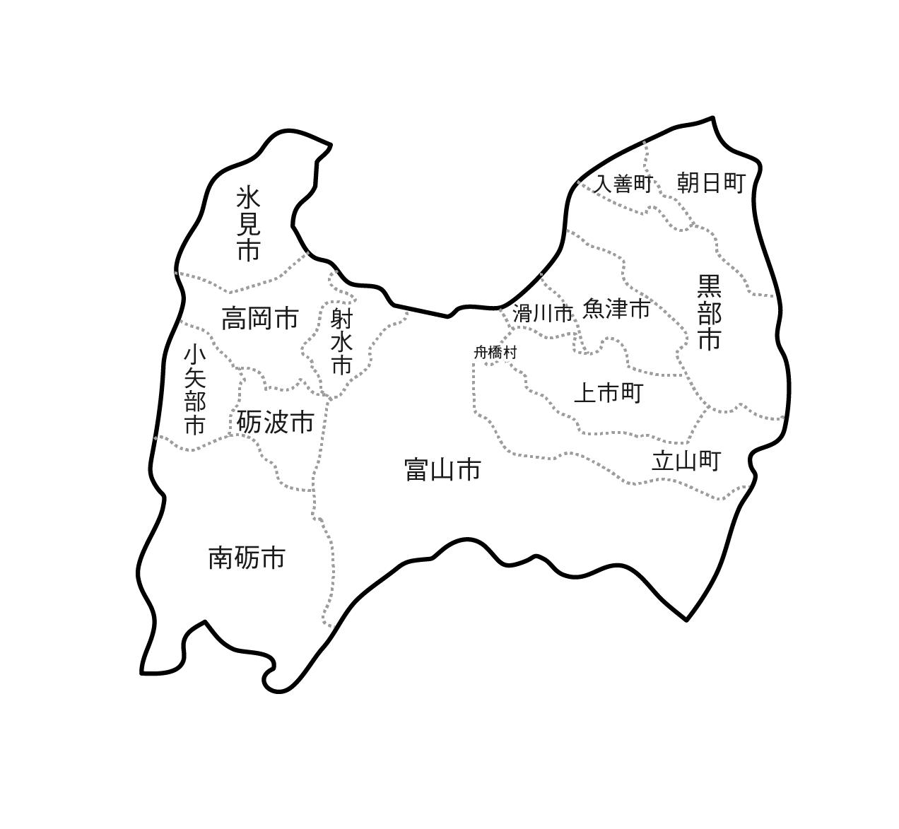 [白地図]富山県・ラインあり・市区町村名あり