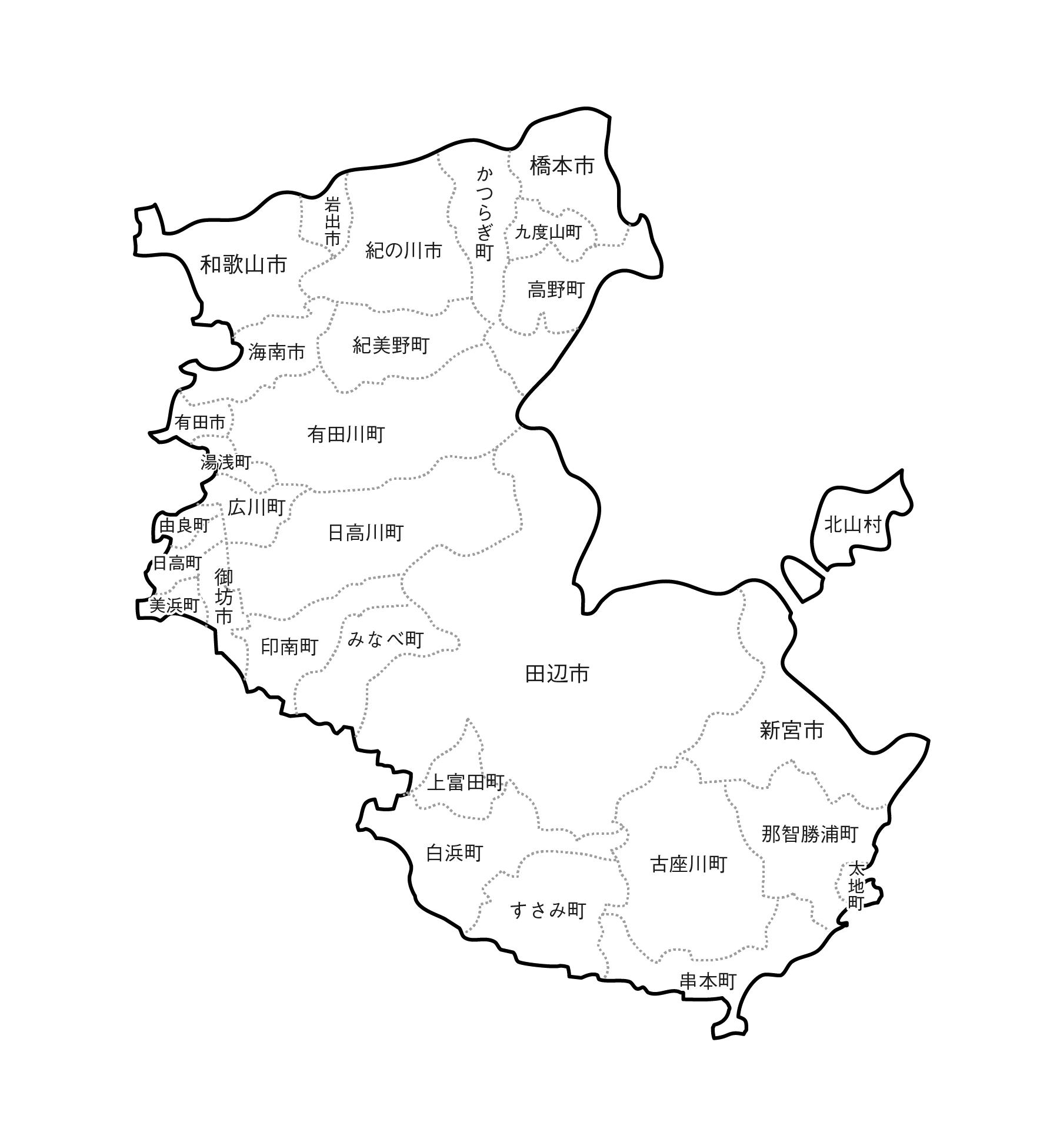 [白地図]和歌山県・ラインあり・市区町村名あり